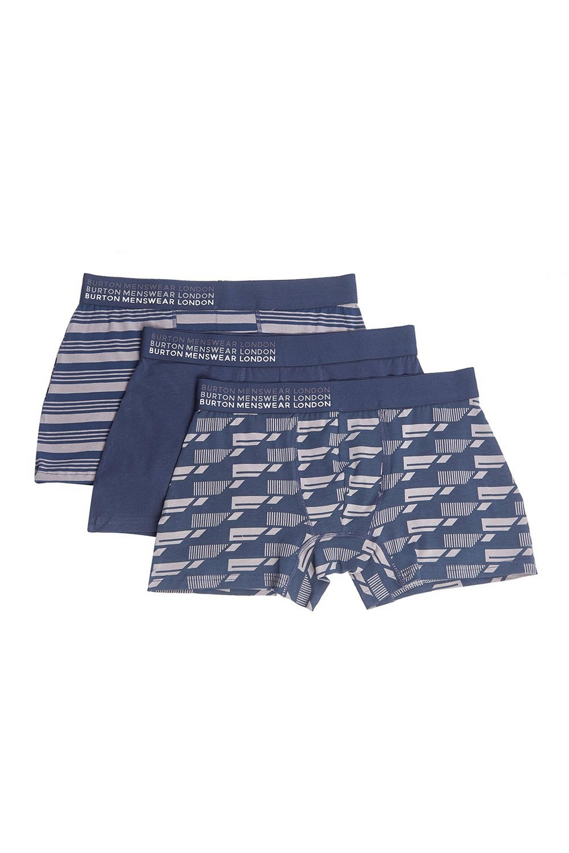 3 Pack Navy Geometric Stripe Print Trunks