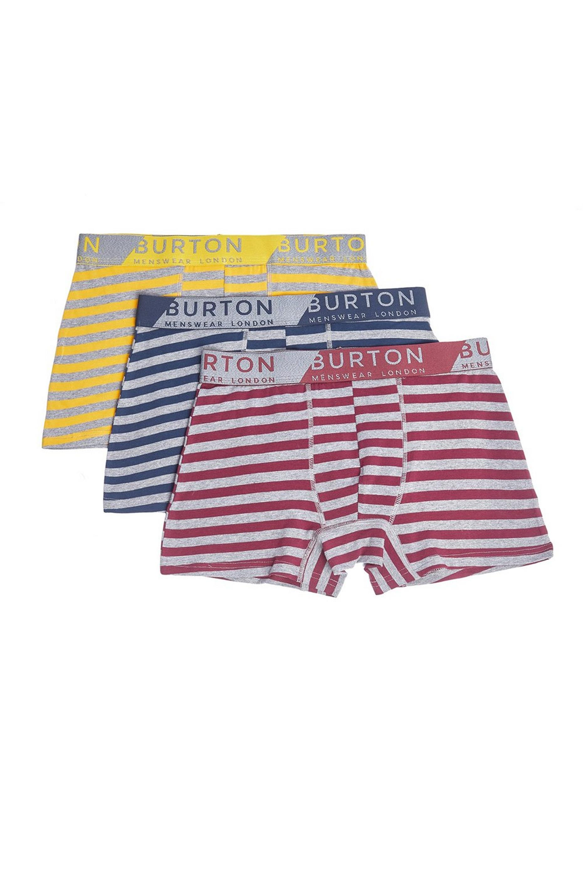 3 Pack Grey Marl Stripe Trunks