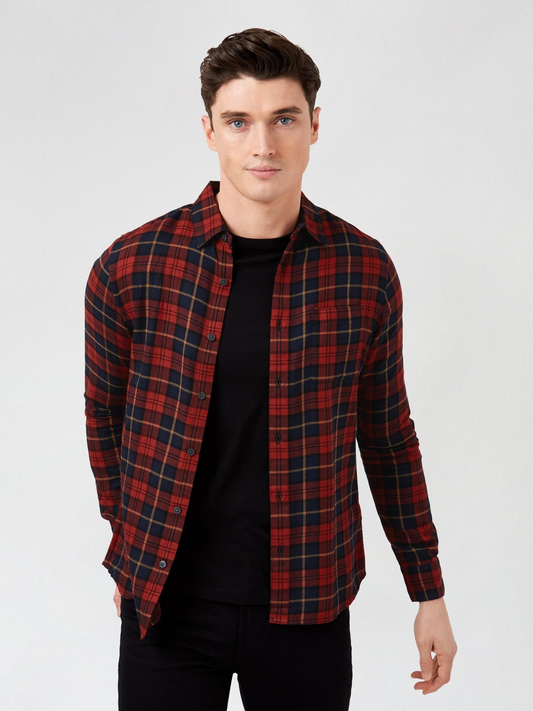 Big and Tall red Tartan Check Shirt