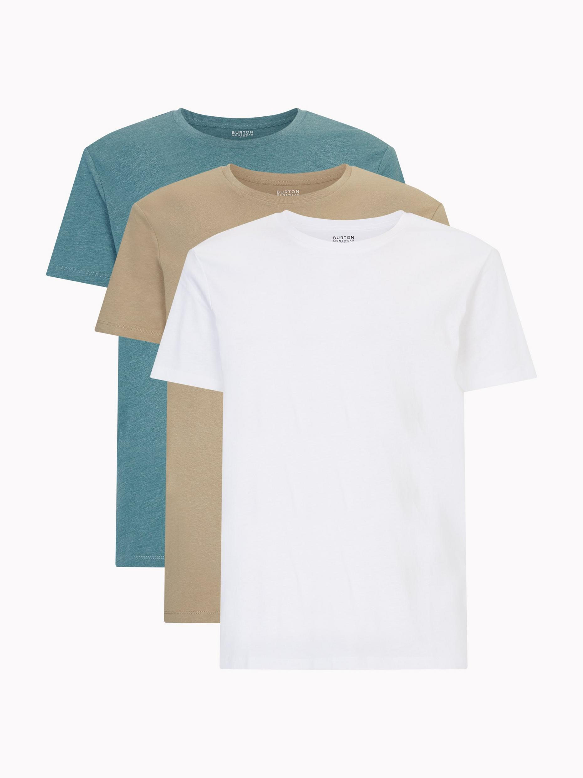 3 Pack White, Stone and Duck Egg Organic T-Shirts