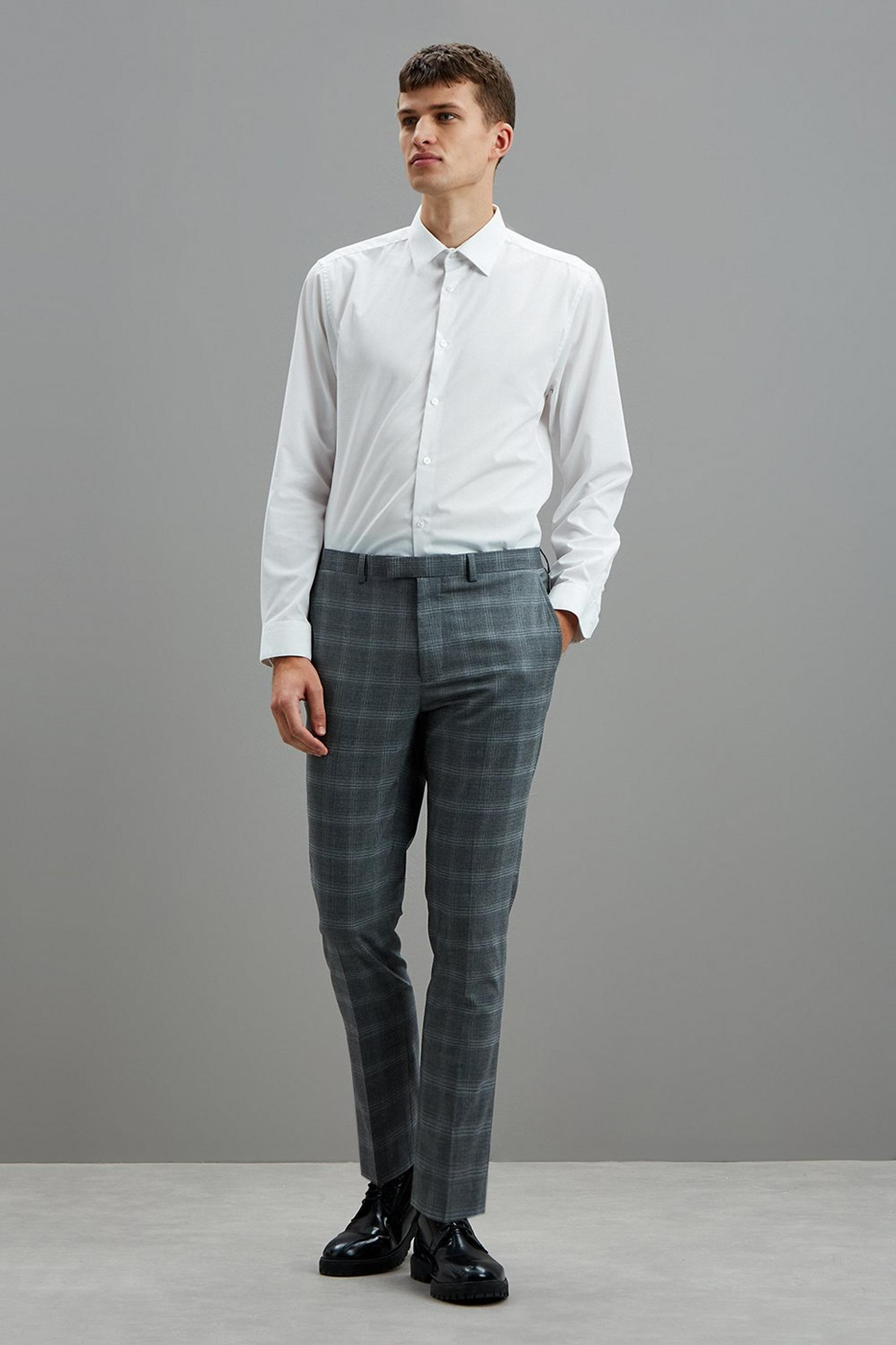 Grey Fine Check Skinny Fit Suit Trousers