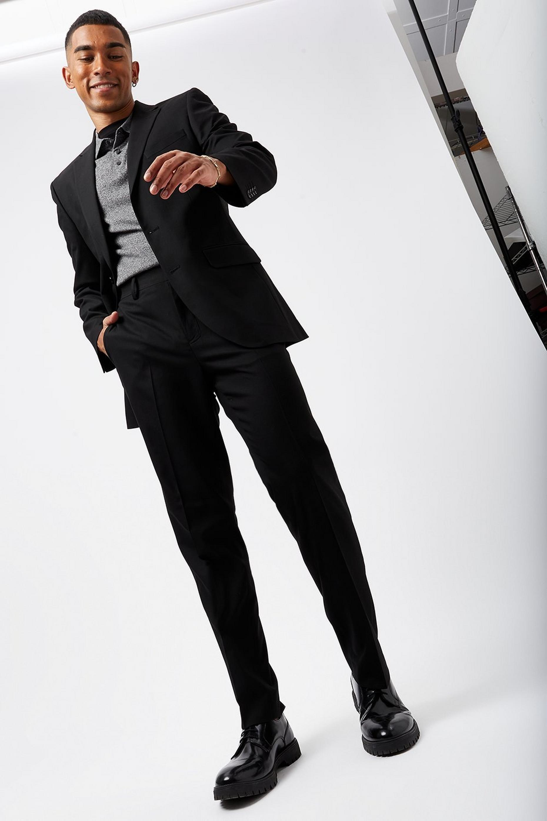 Black Tailored Fit Suit Trousers with Stretch