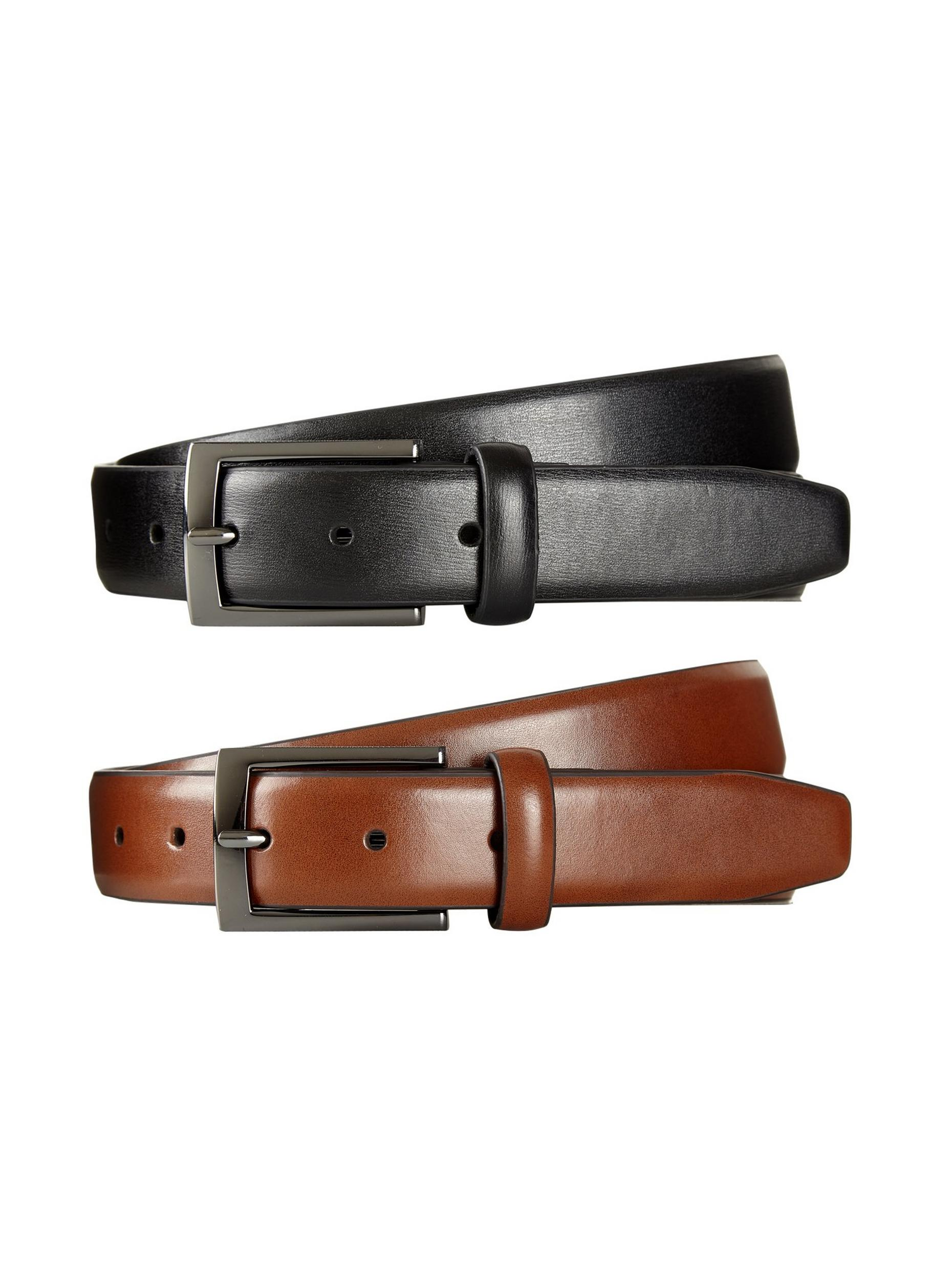 2 Pack Black and Tan Textured Buckle Belts