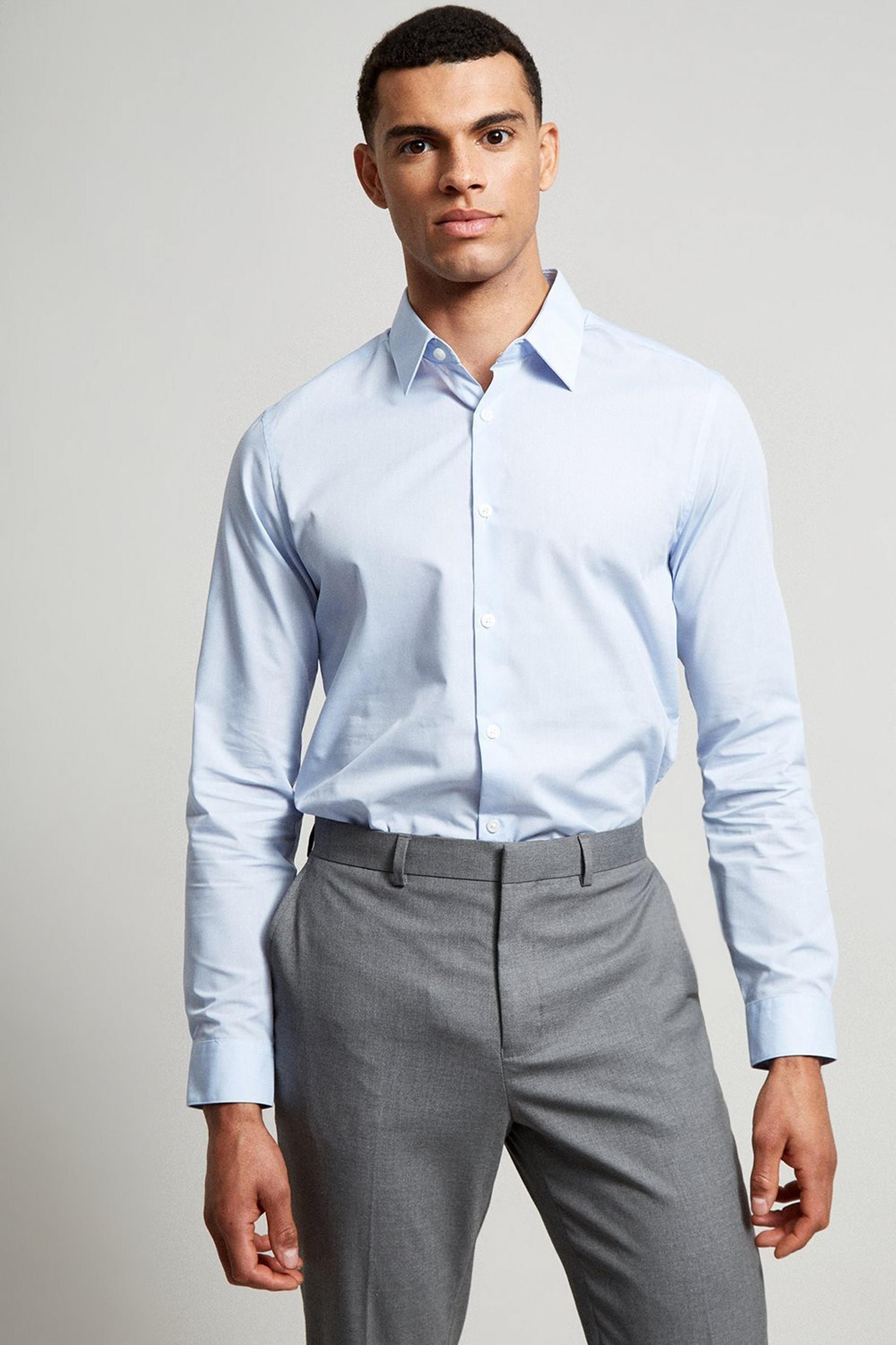 Blue Slim Fit Easy Iron Shirt
