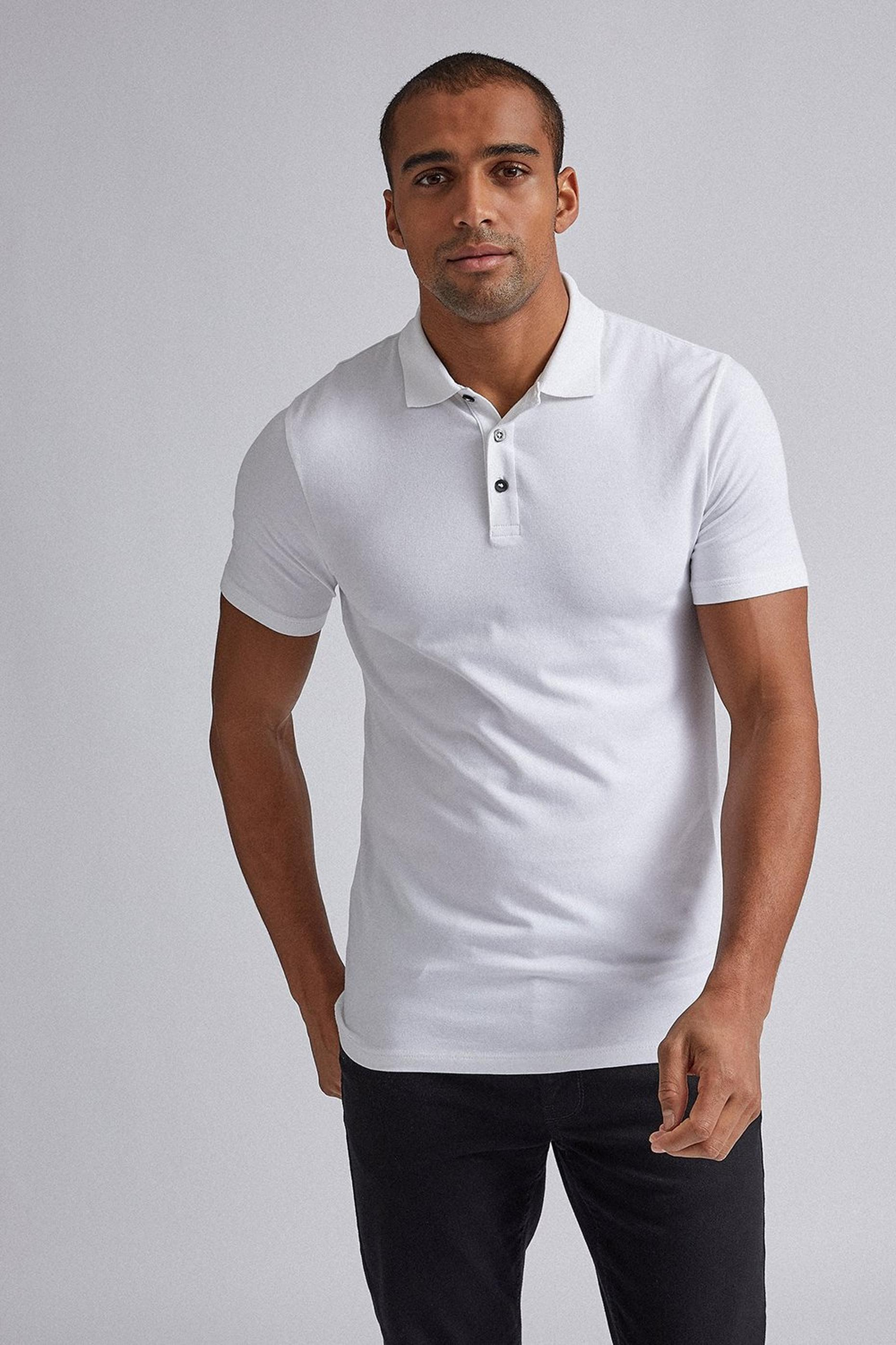 White Muscle Fit Polo Shirt