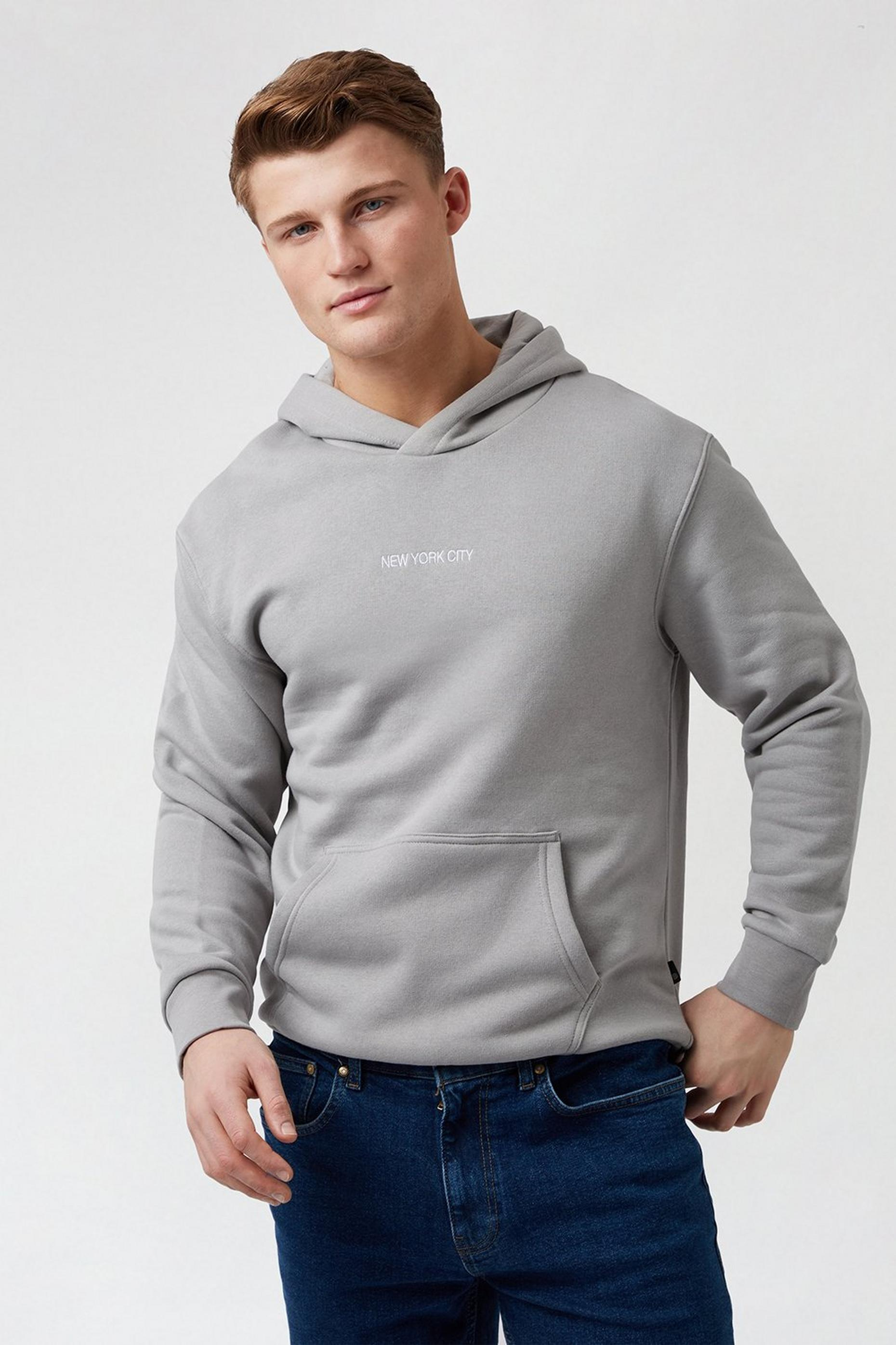 Grey New York Oversized Hoodie