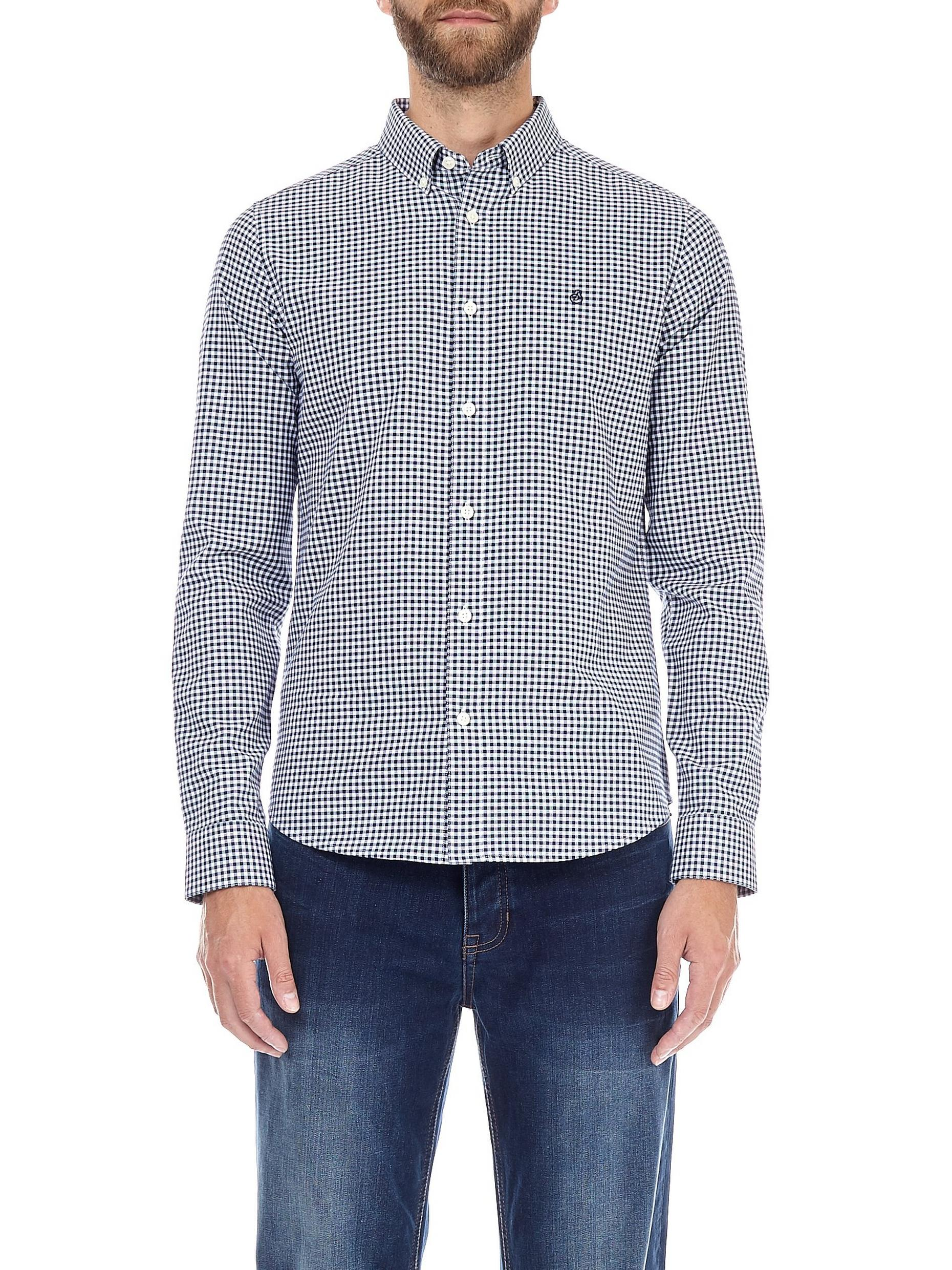 Navy Long Sleeve Gingham Oxford Shirt