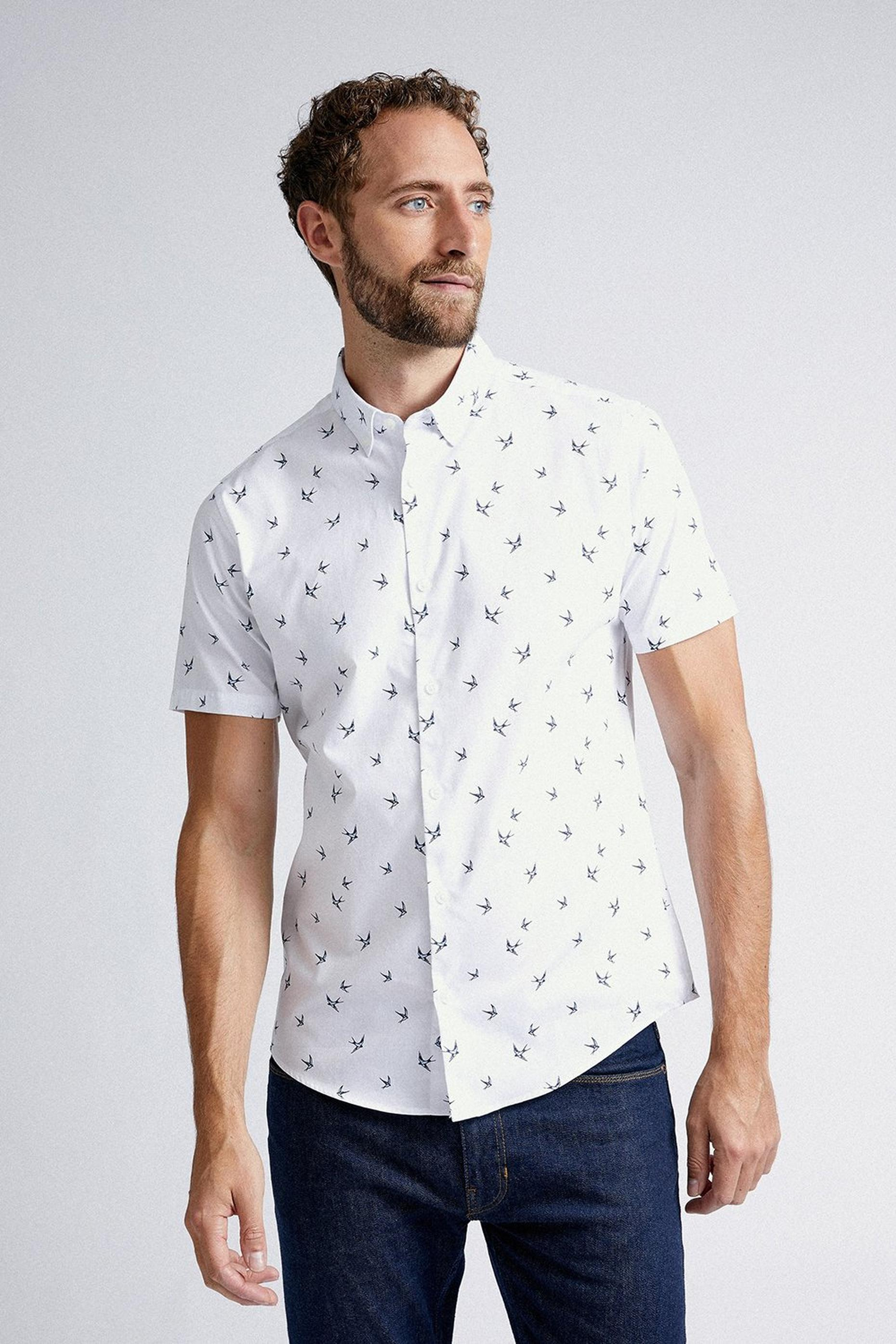 White Slim Fit Short Sleeve Bird Print Shirt