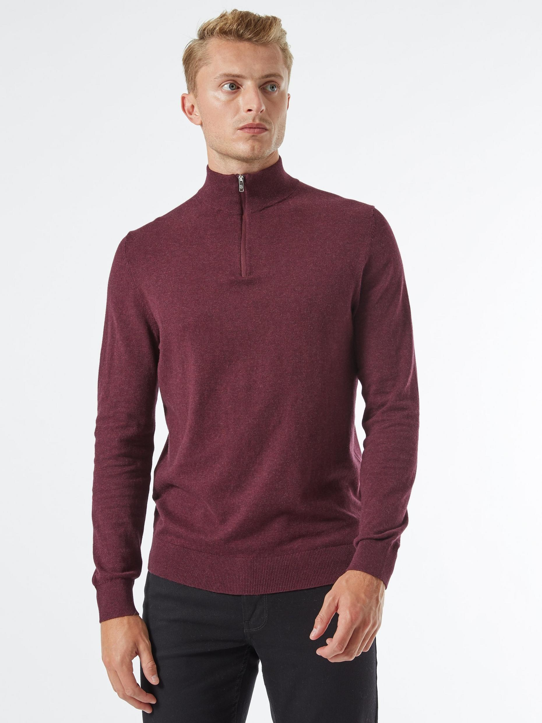 Burgundy Half Zip Jumper with Organic Cotton