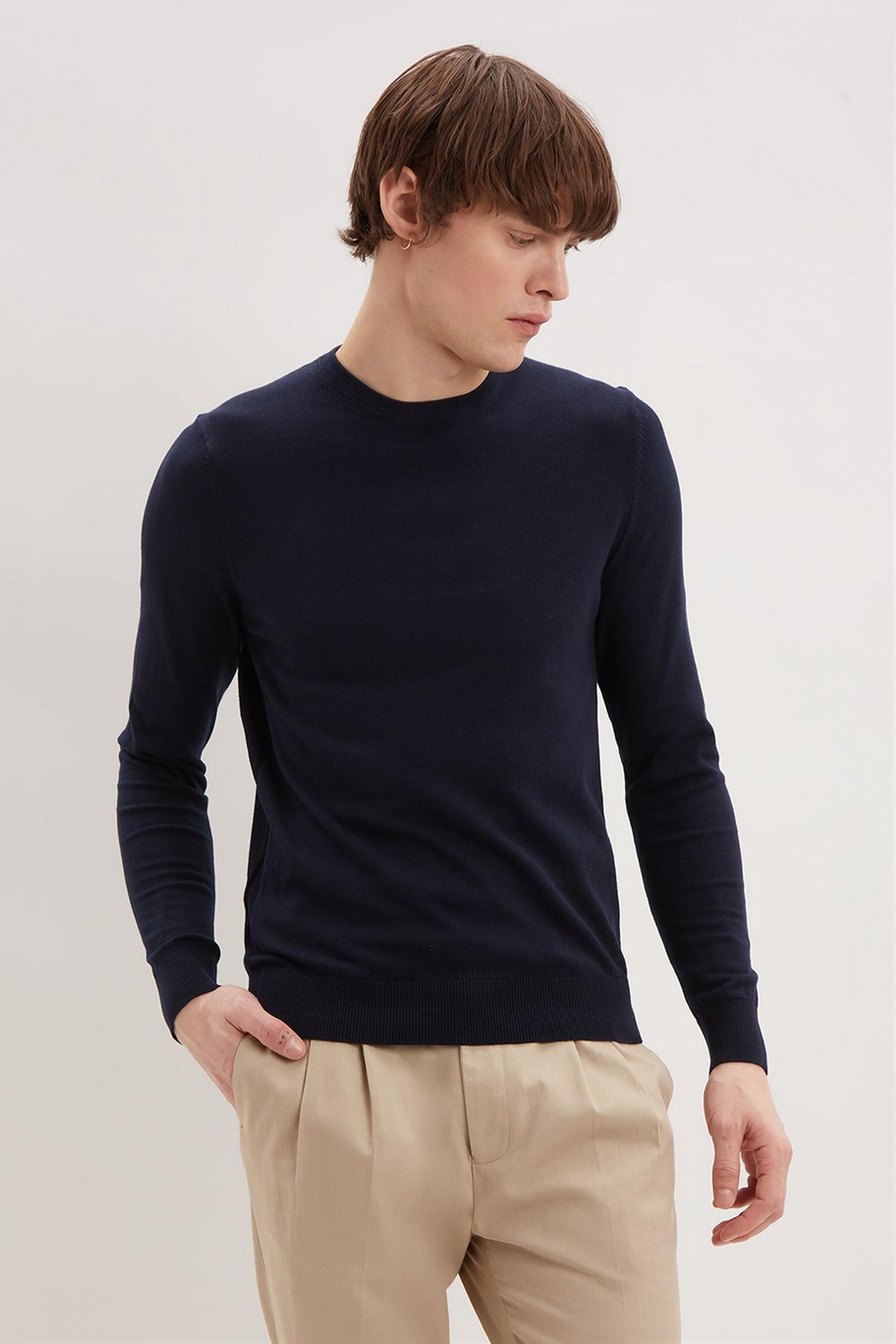 Navy Crew Neck Jumper with Organic Cotton