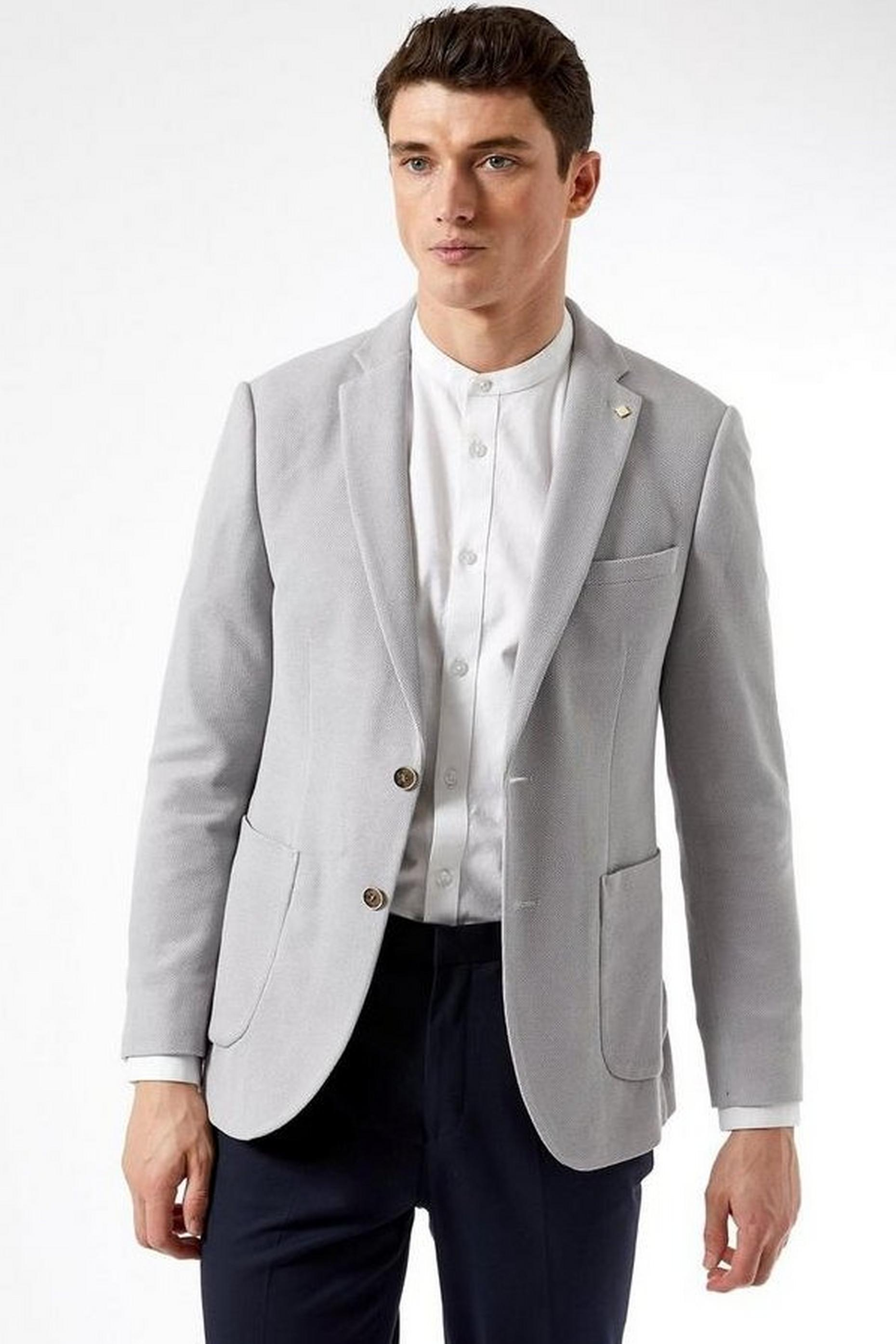 Light Grey Textured Blazer