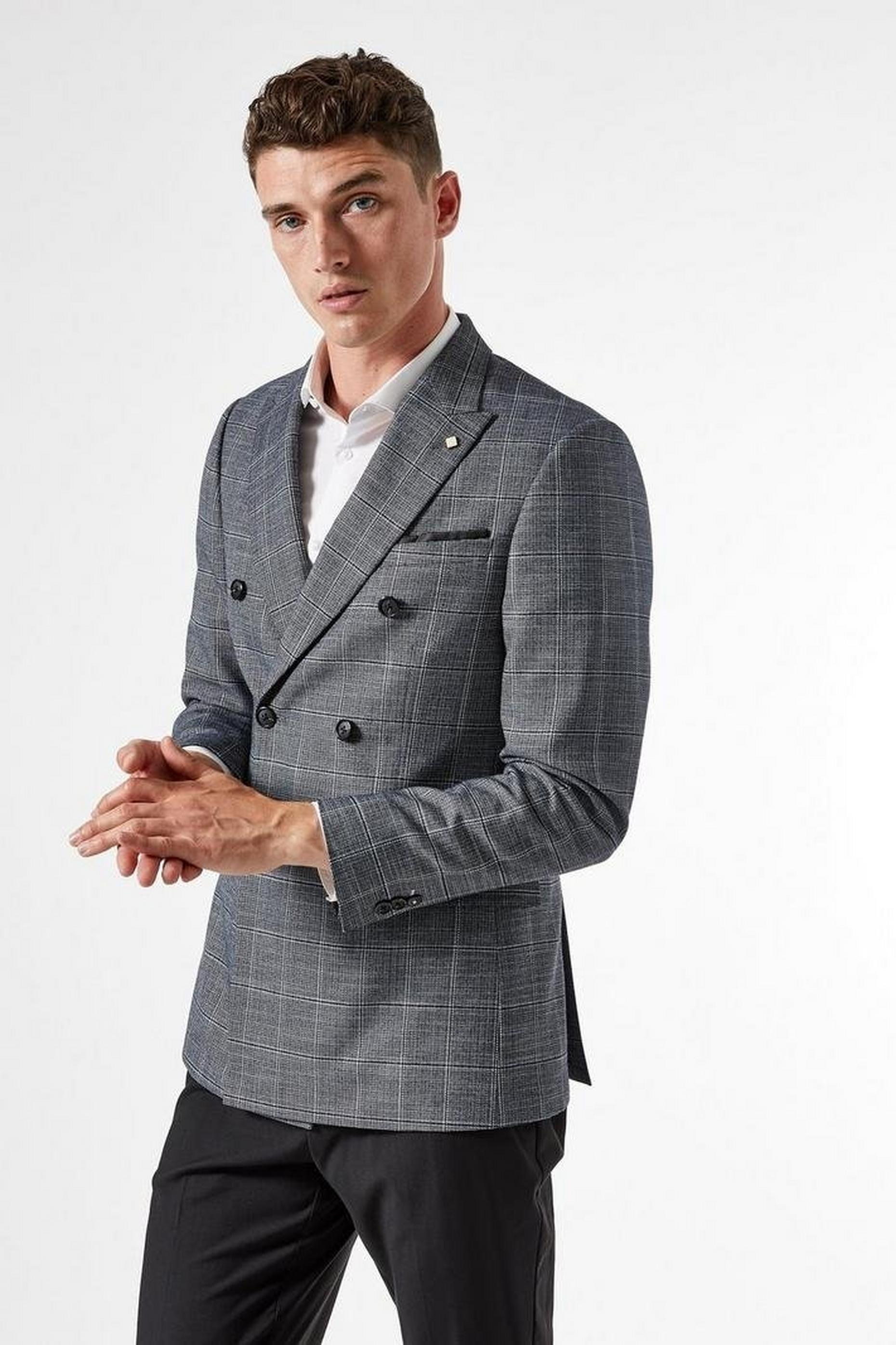 Grey Double Breasted Linen Check Blazer