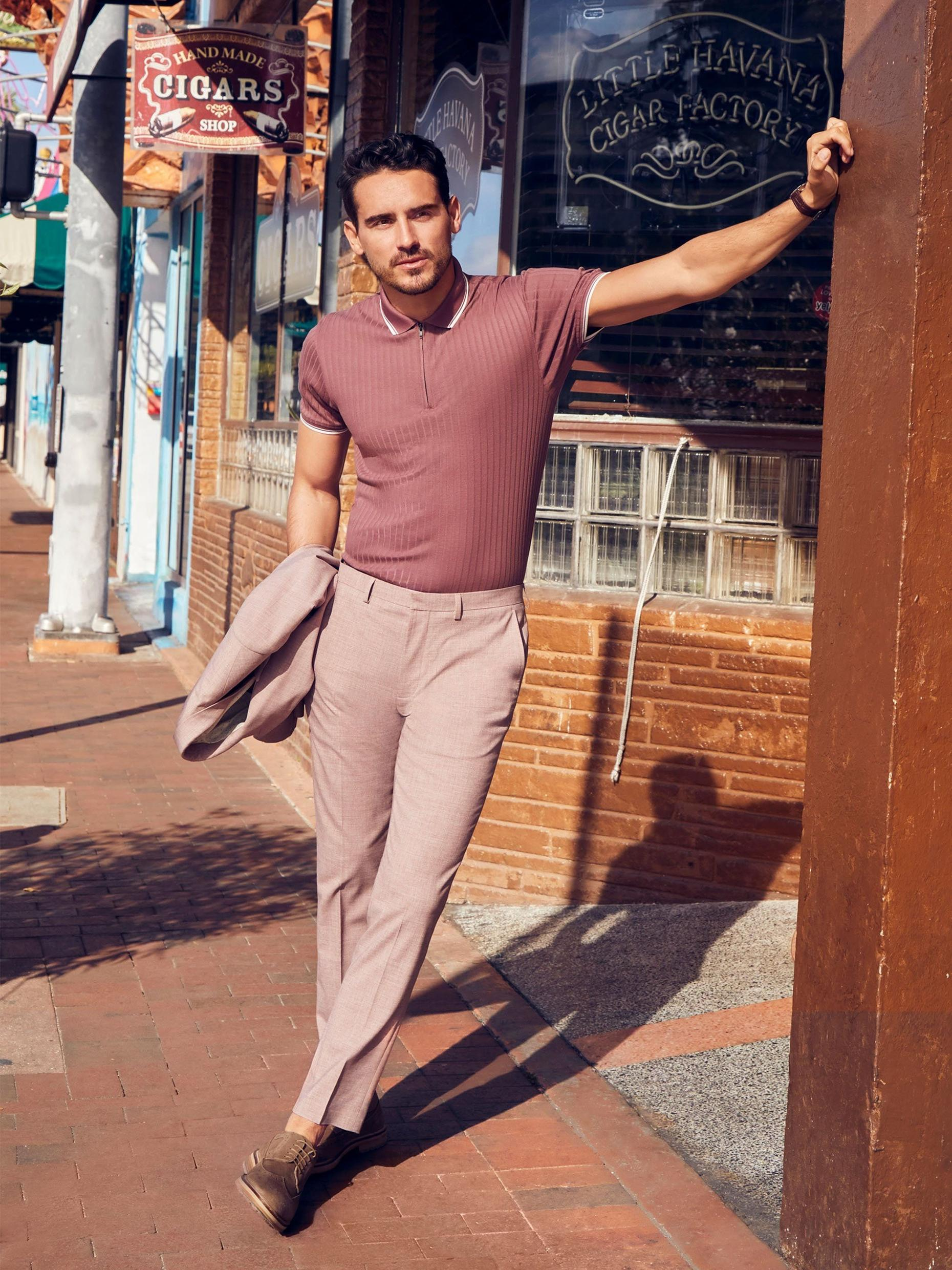 Dusty Pink Marl Skinny Fit Suit Trousers