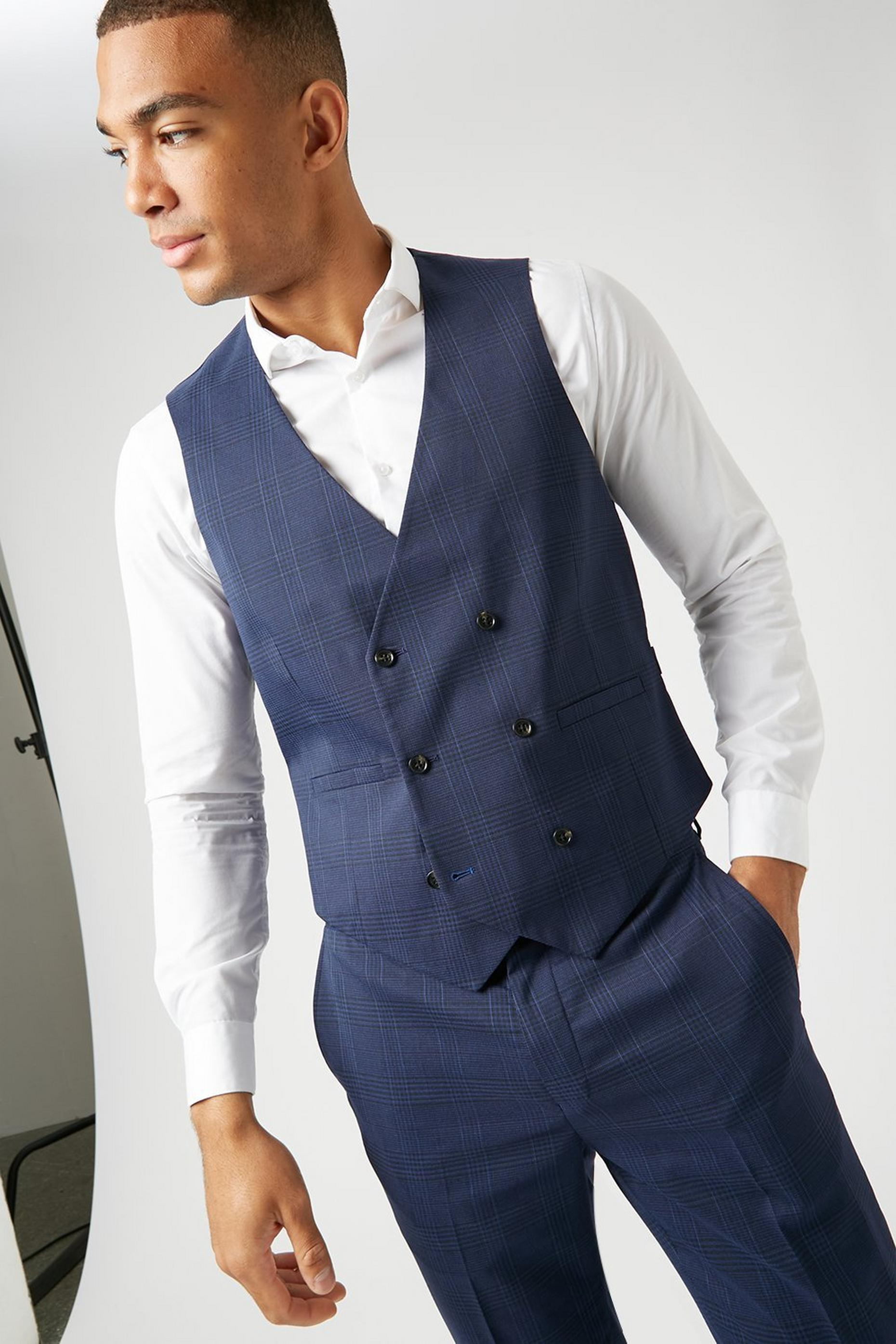 Navy Highlight Check Skinny Fit Suit Waistcoat