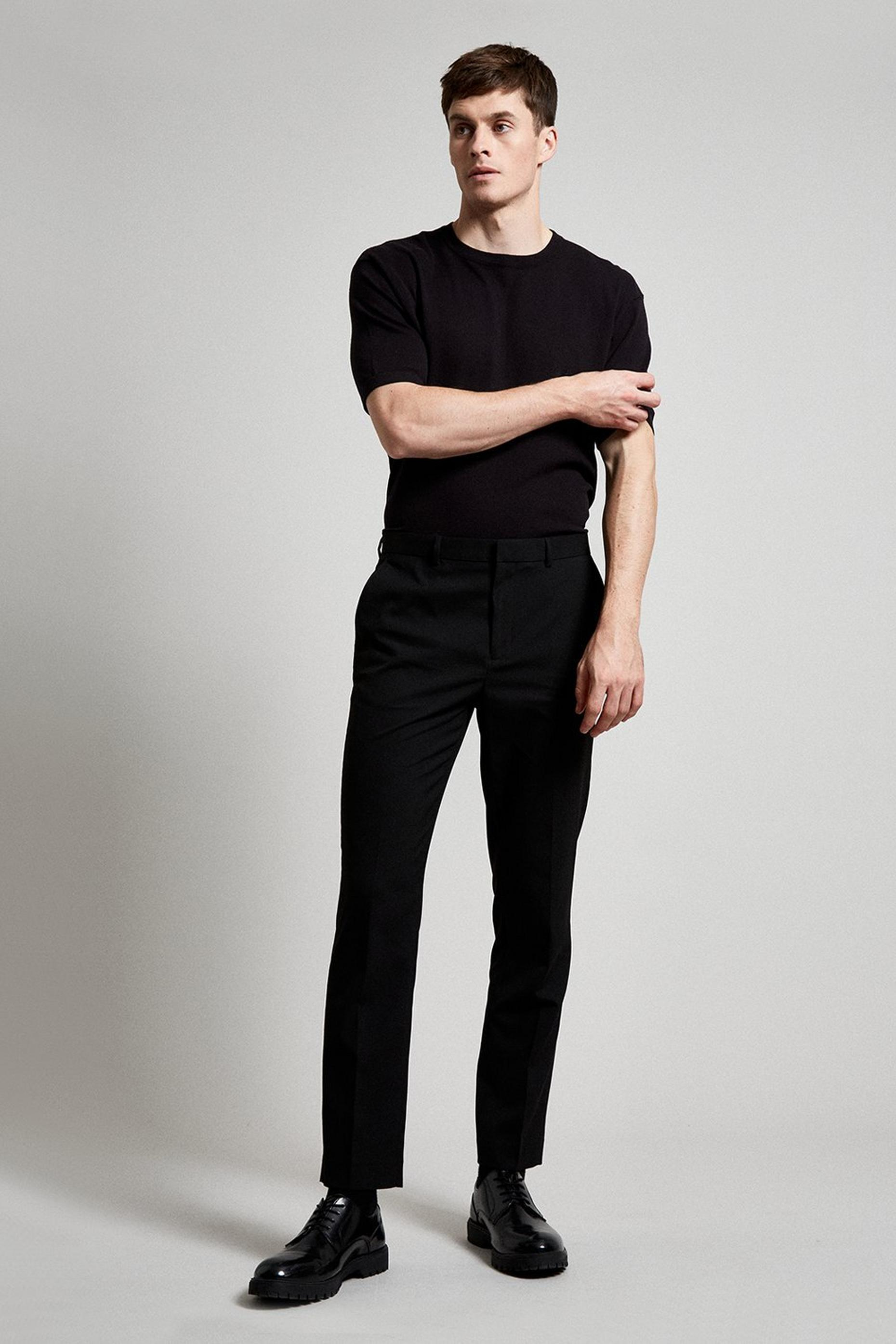 Black Essential Slim Fit Suit Trousers with Stretc