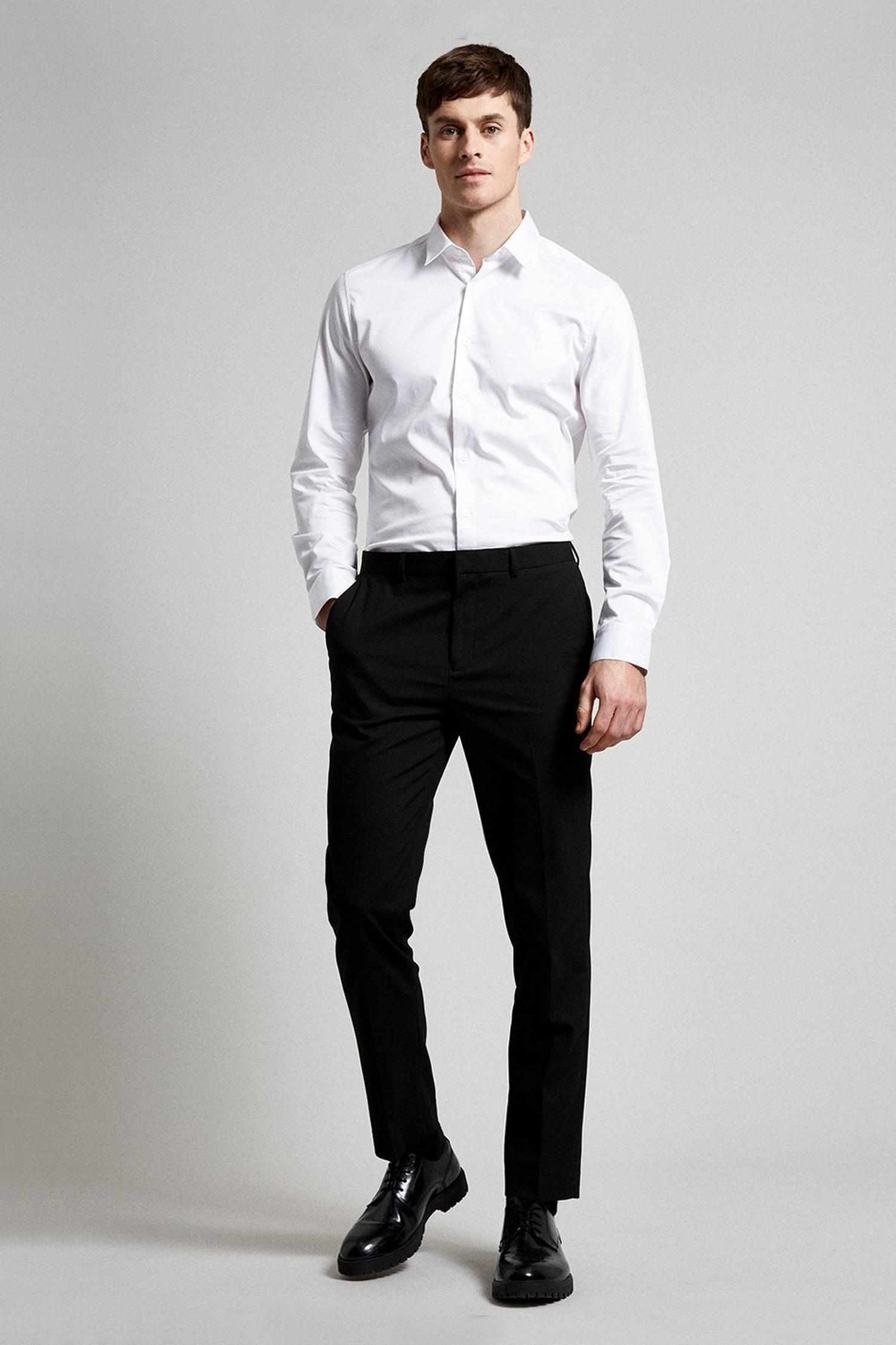 105 Black Essential Slim Fit Suit Trousers with Stretc image number 2