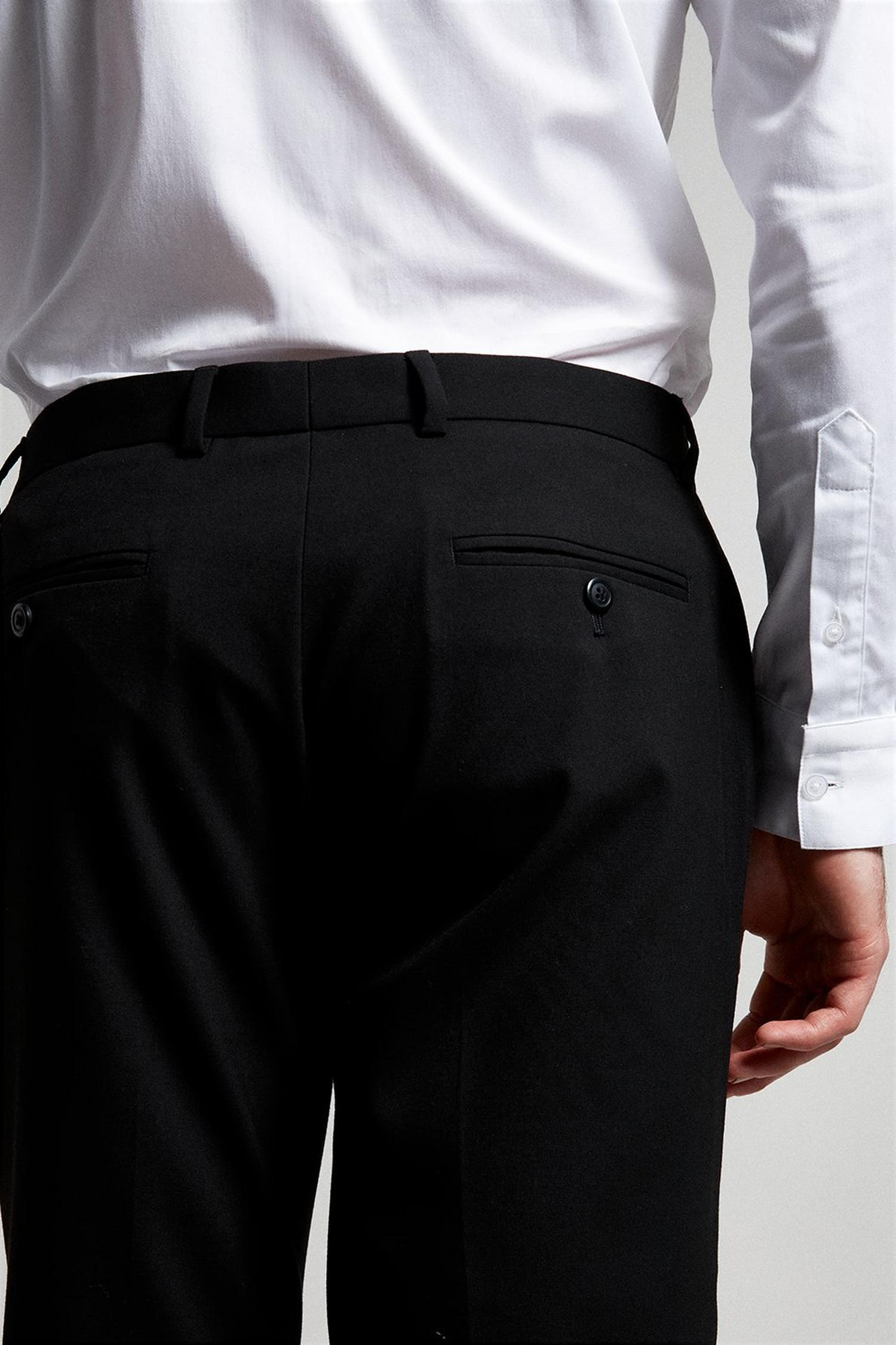 105 Black Essential Slim Fit Suit Trousers with Stretc image number 4