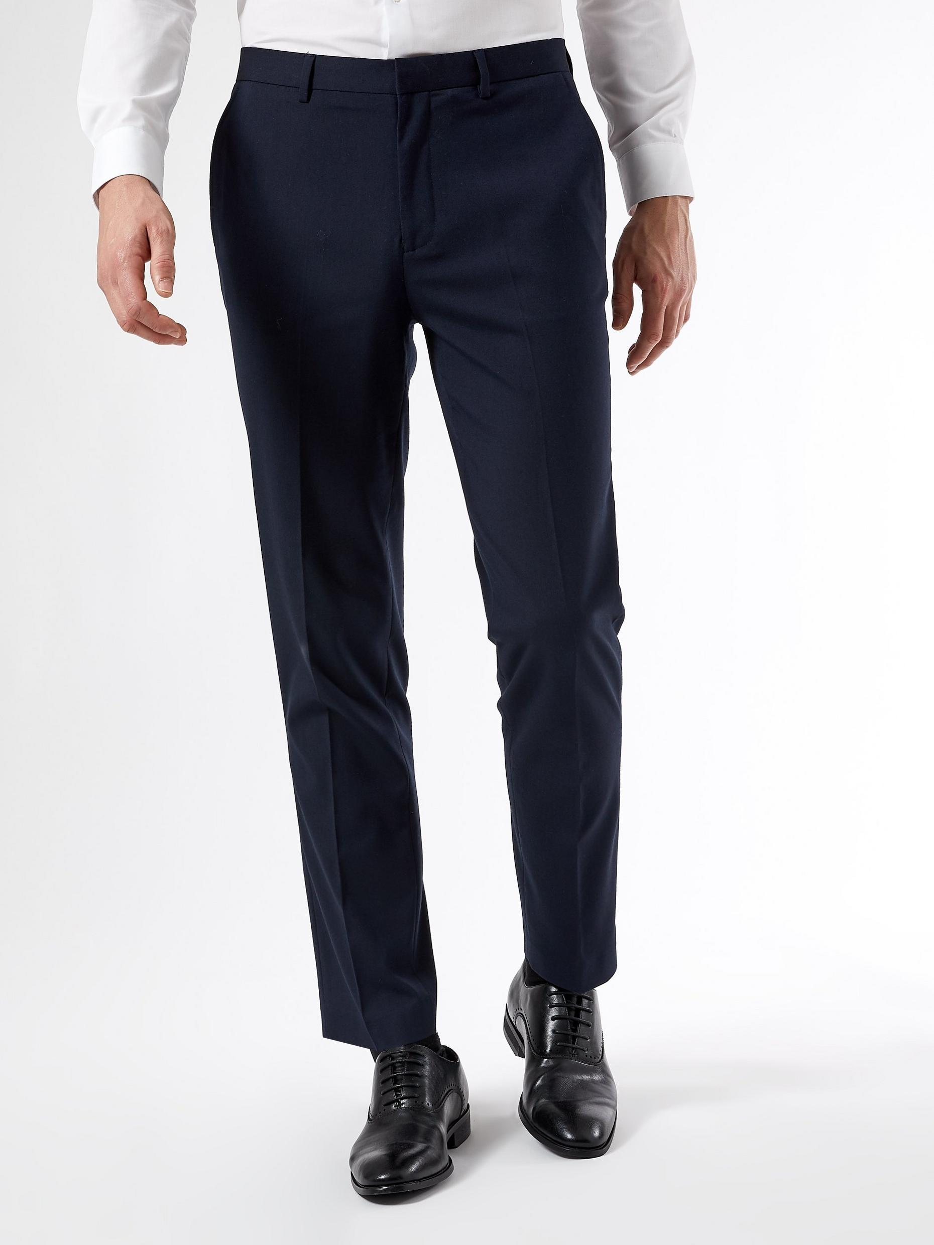 Navy Essential Slim Fit Suit Trousers with Stretch