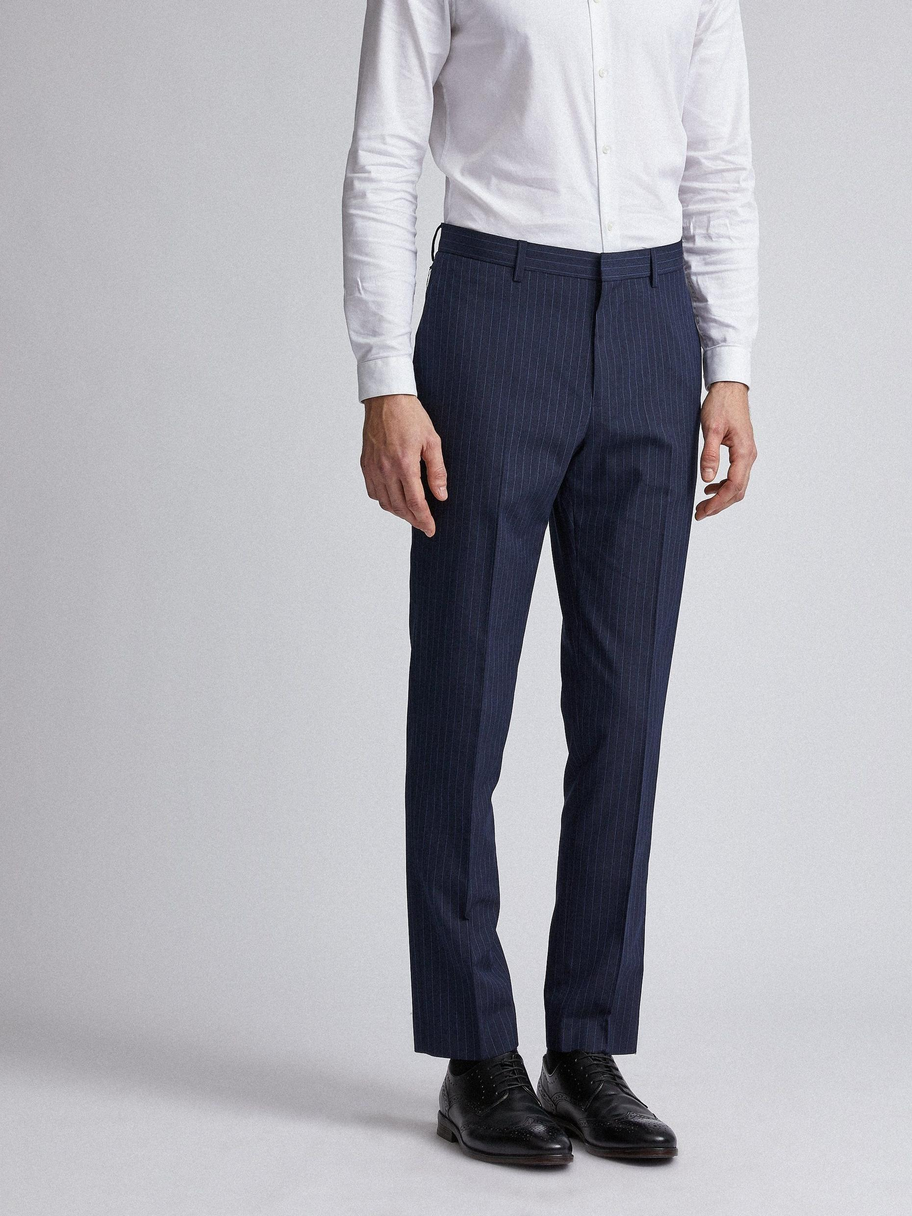 Navy Pinstripe Slim Fit Suit Trousers