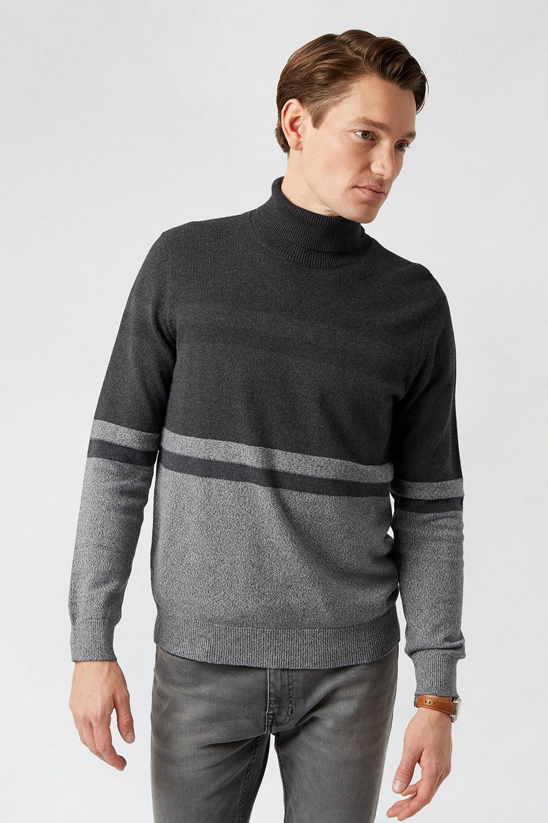 Charcoal Stripe Roll Neck Jumper