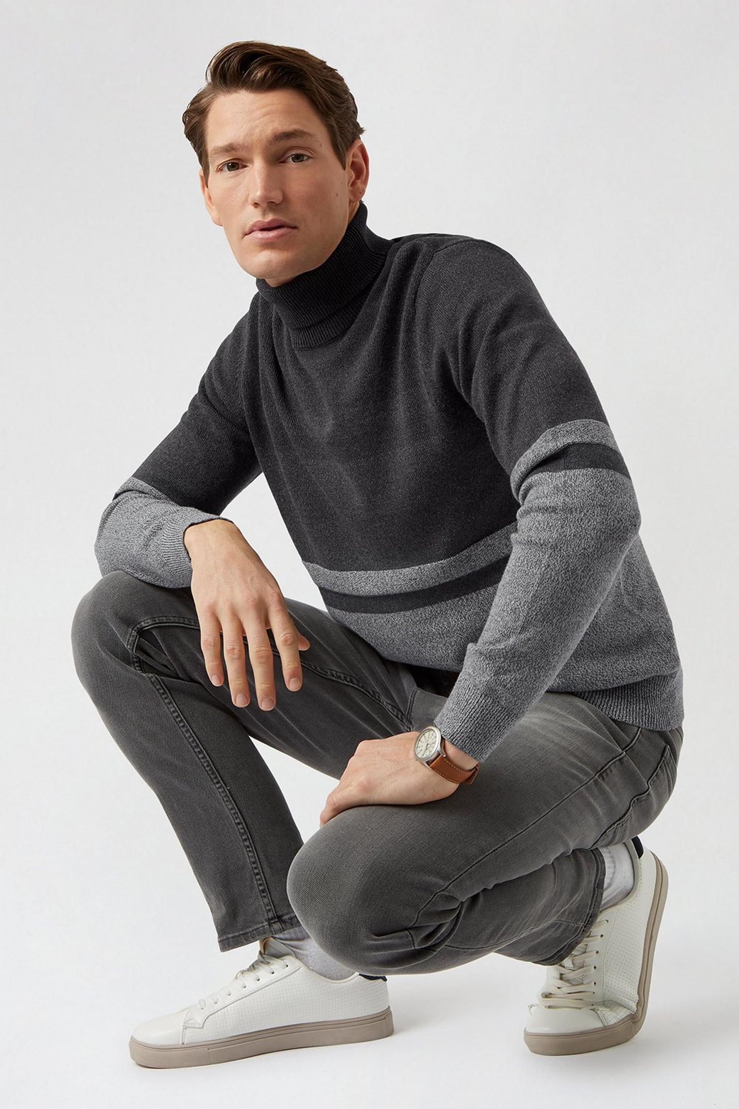 115 Charcoal Stripe Roll Neck Jumper image number 2