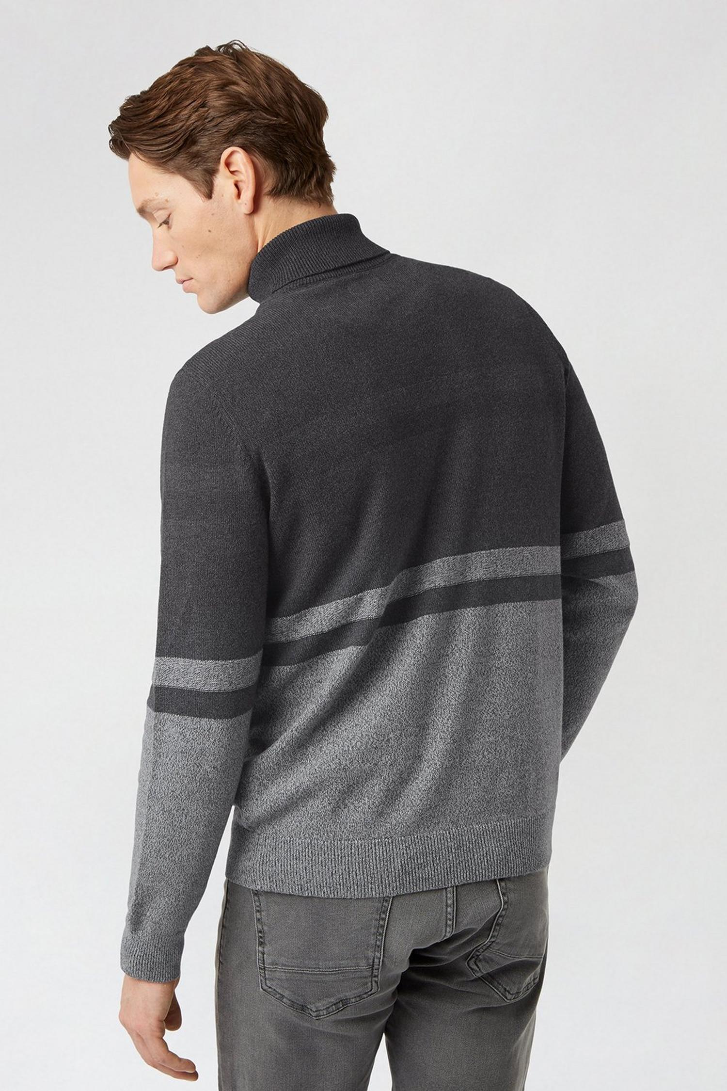 115 Charcoal Stripe Roll Neck Jumper image number 3