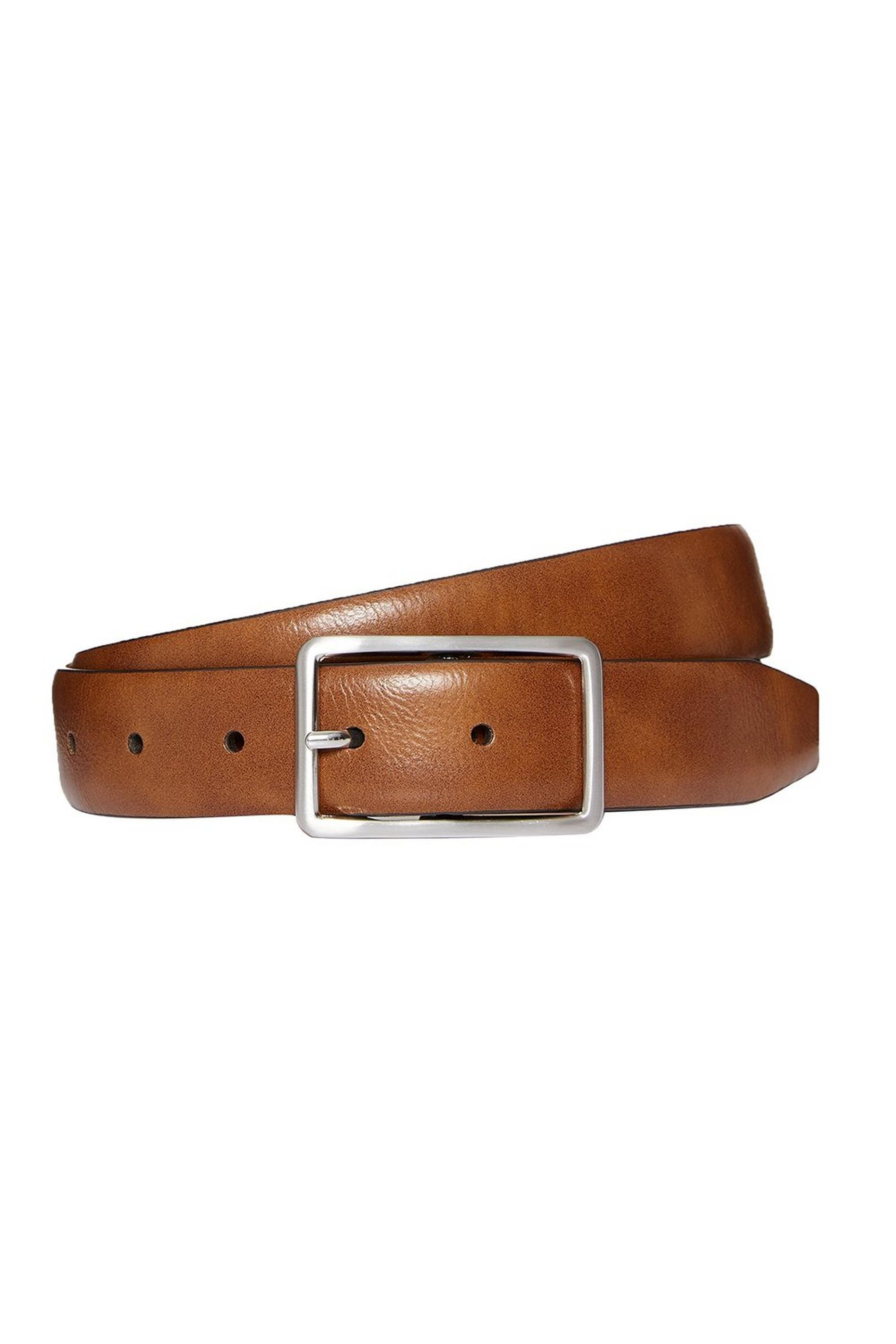 Tan rectangle buckle belt