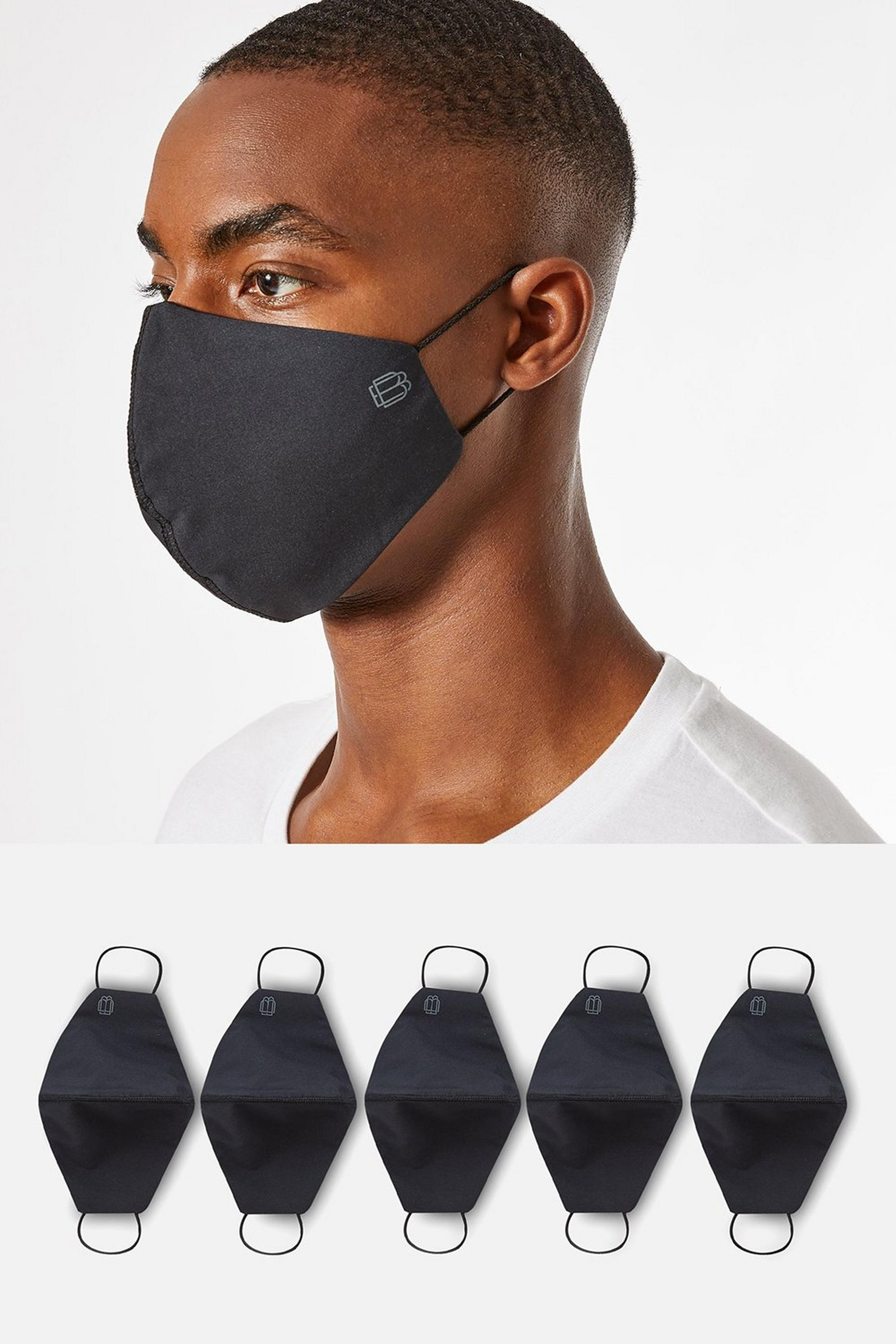 5 Pack Black Reusable Face Coverings