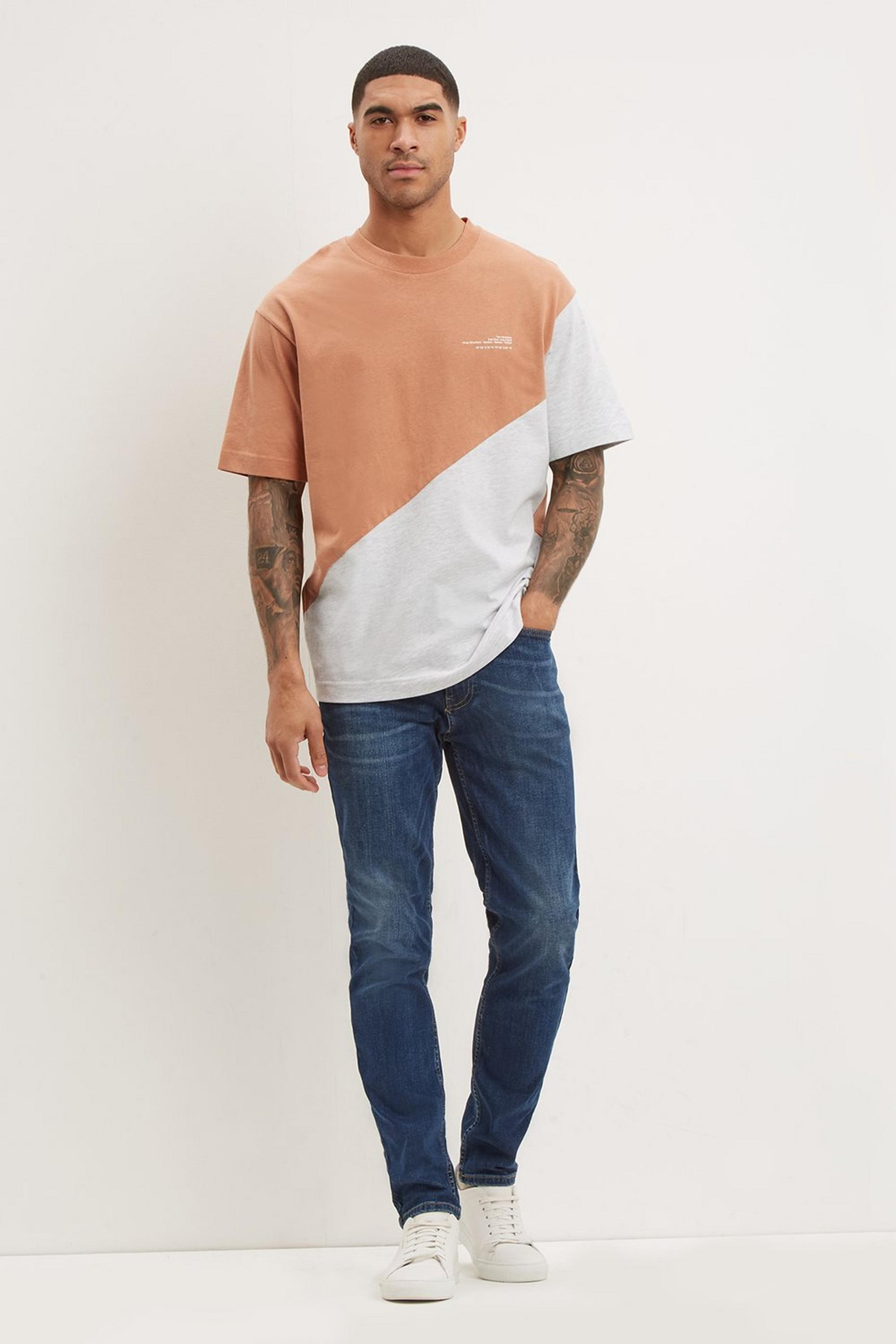 Mid Wash Tapered Fit Jeans With Organic Cotton
