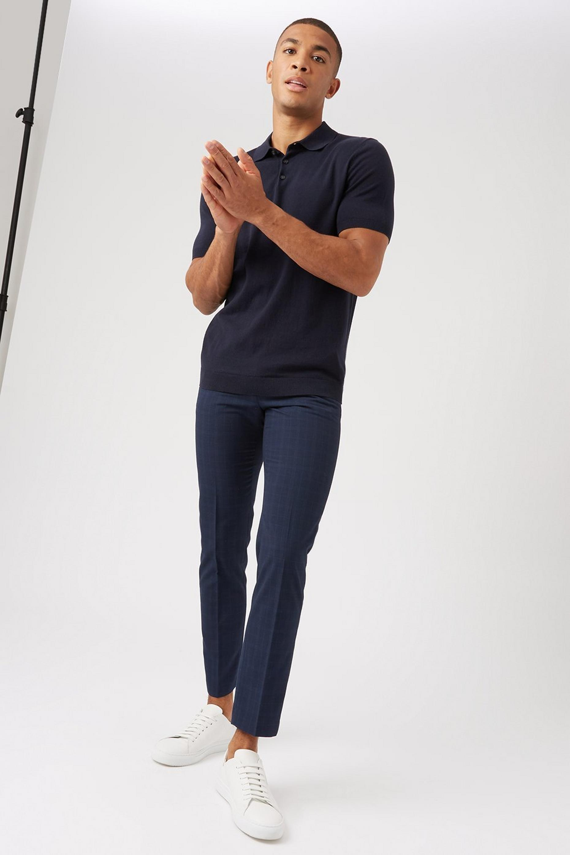 Navy and Green Slim Check Trousers