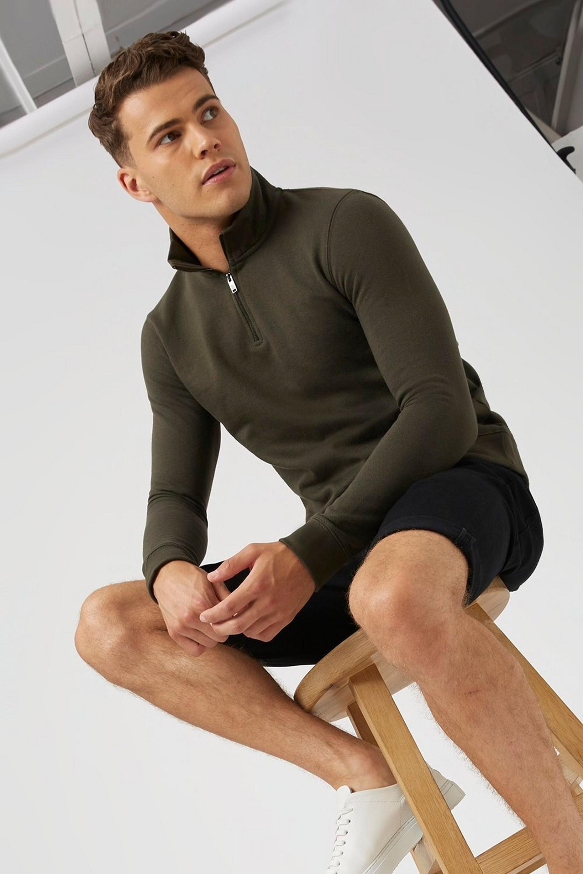 Khaki Quarter Zip Funnel Neck Sweatshirt