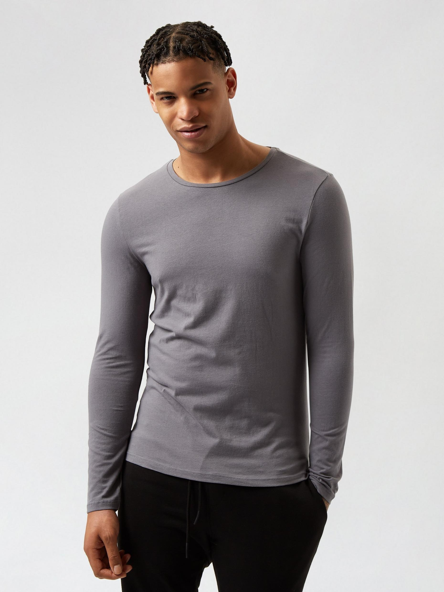 2 Pack Khaki and Grey Long Sleeved Muscle TShirts