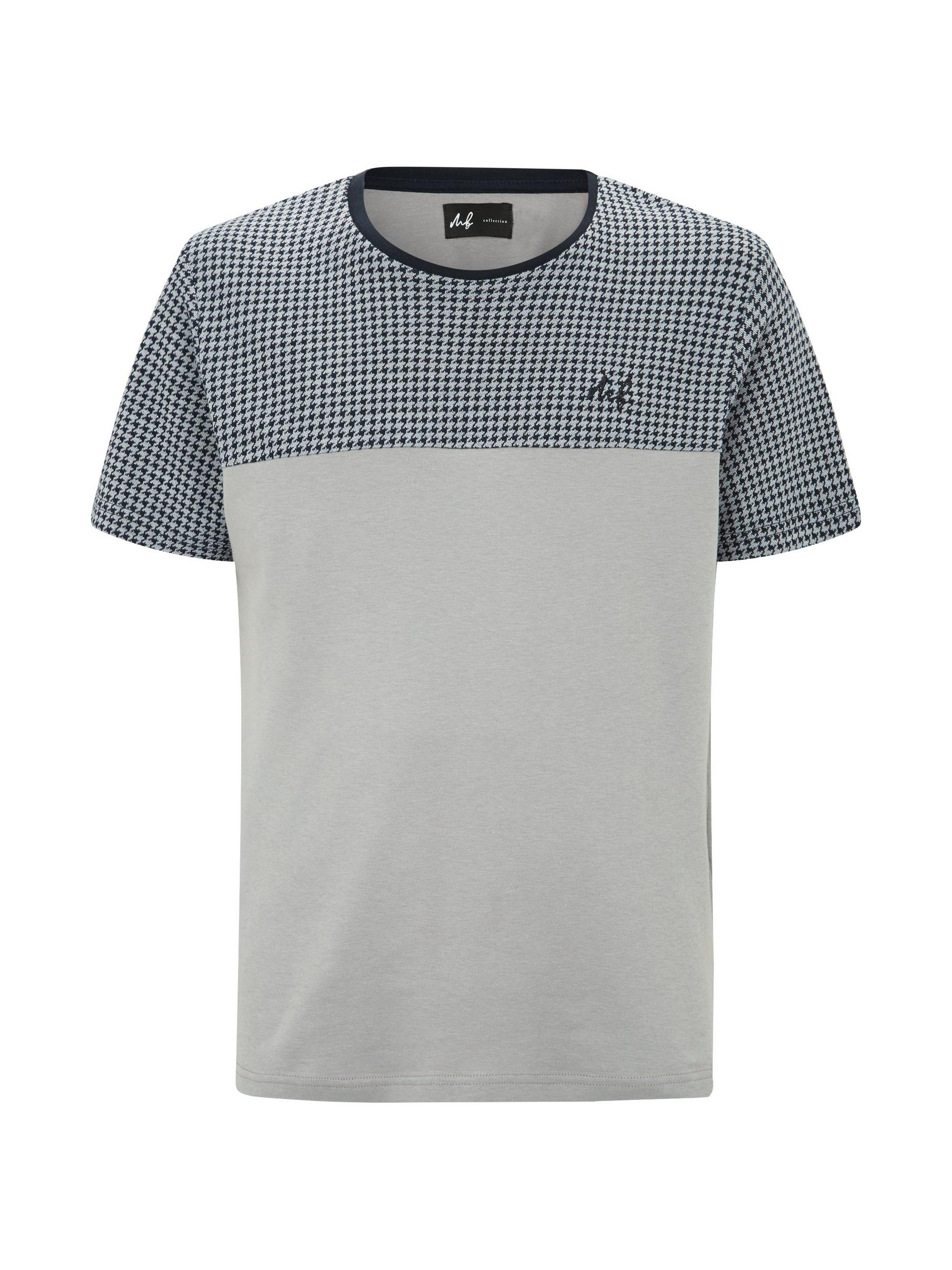 MB Collection Navy Puppytooth Cut and Sew T Shirt