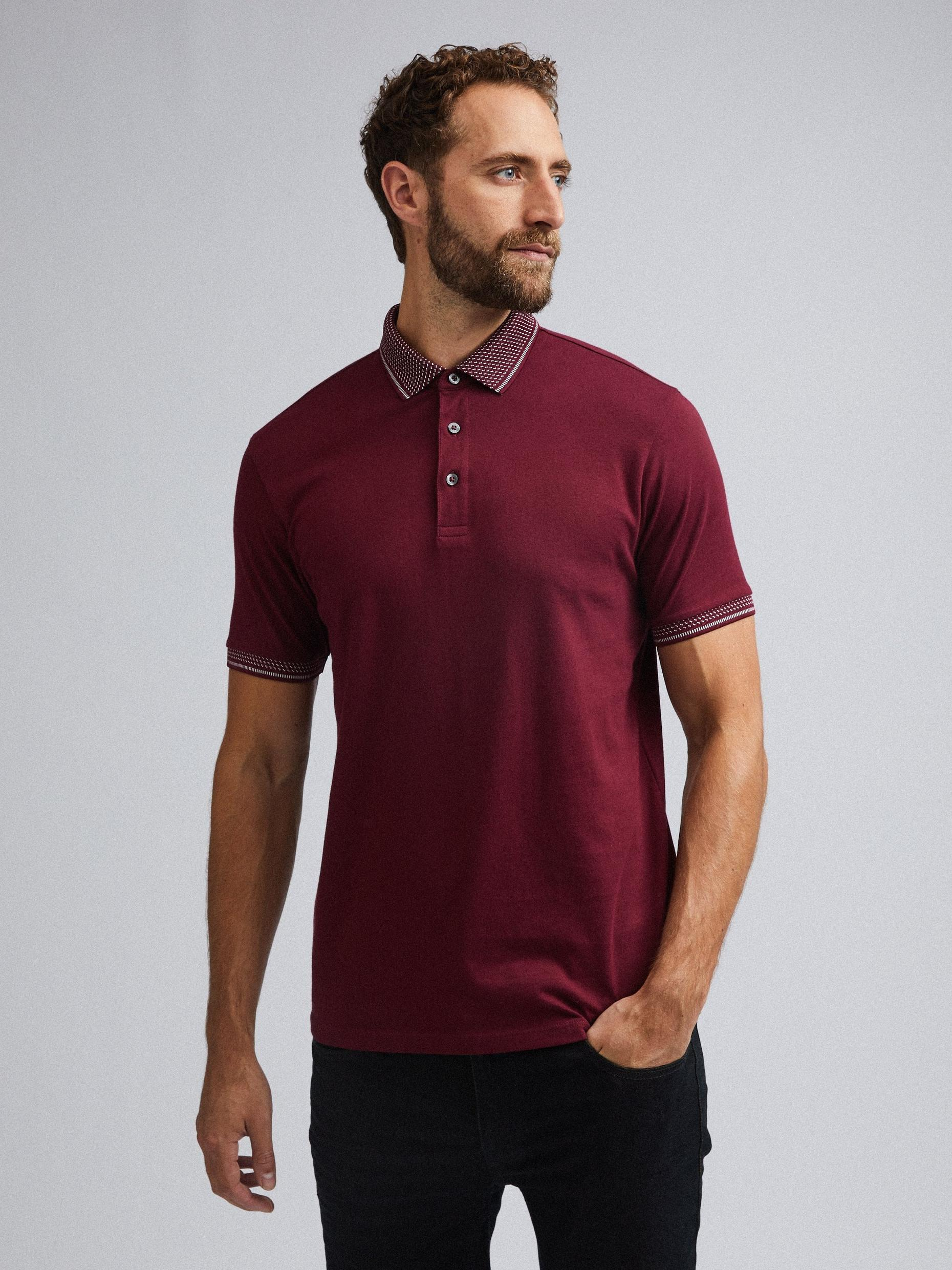 Burgundy Jacquard Collar Polo Shirt