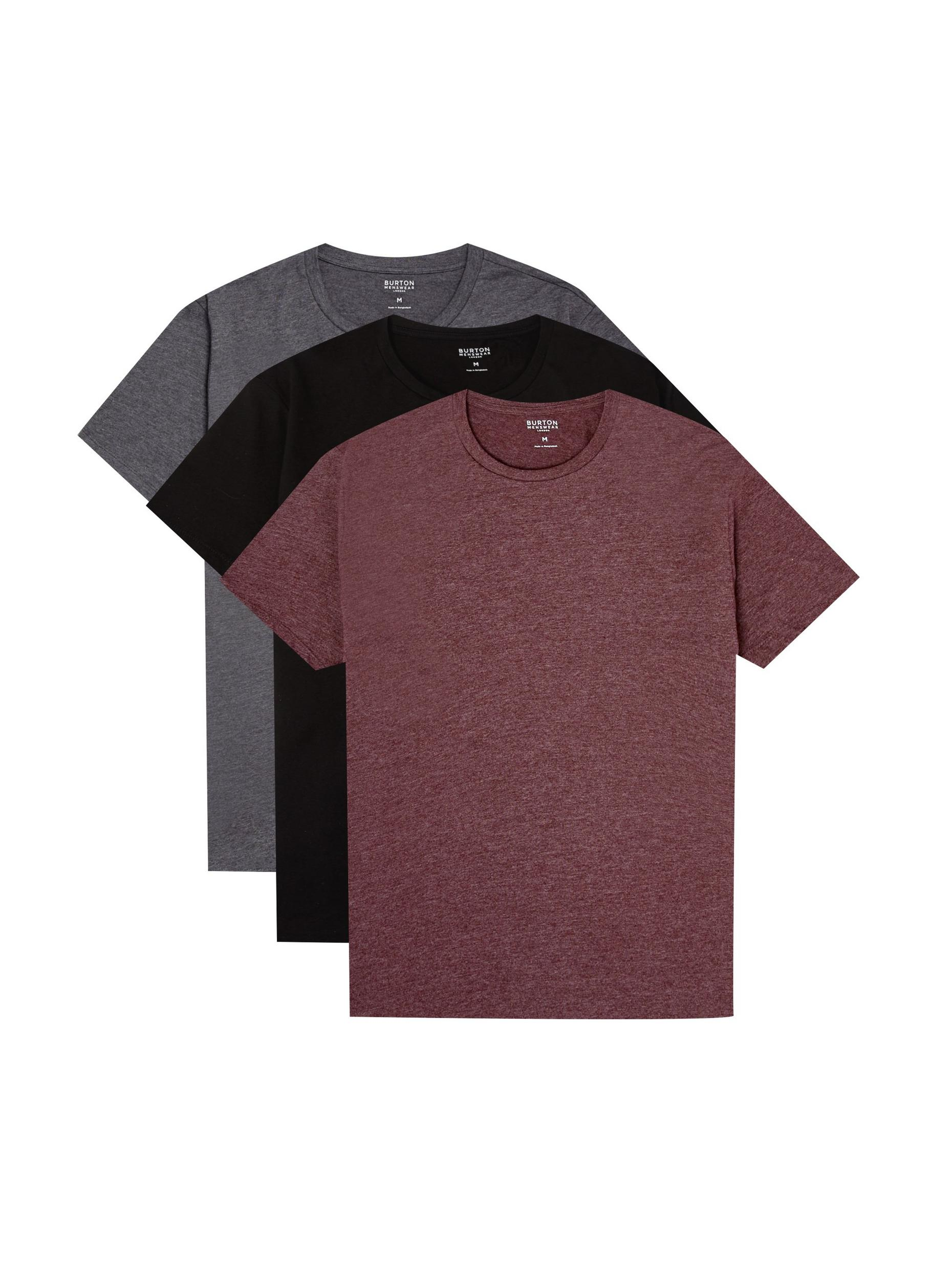 3 Pack Black; Charcoal; Burgundy Organic T-Shirt