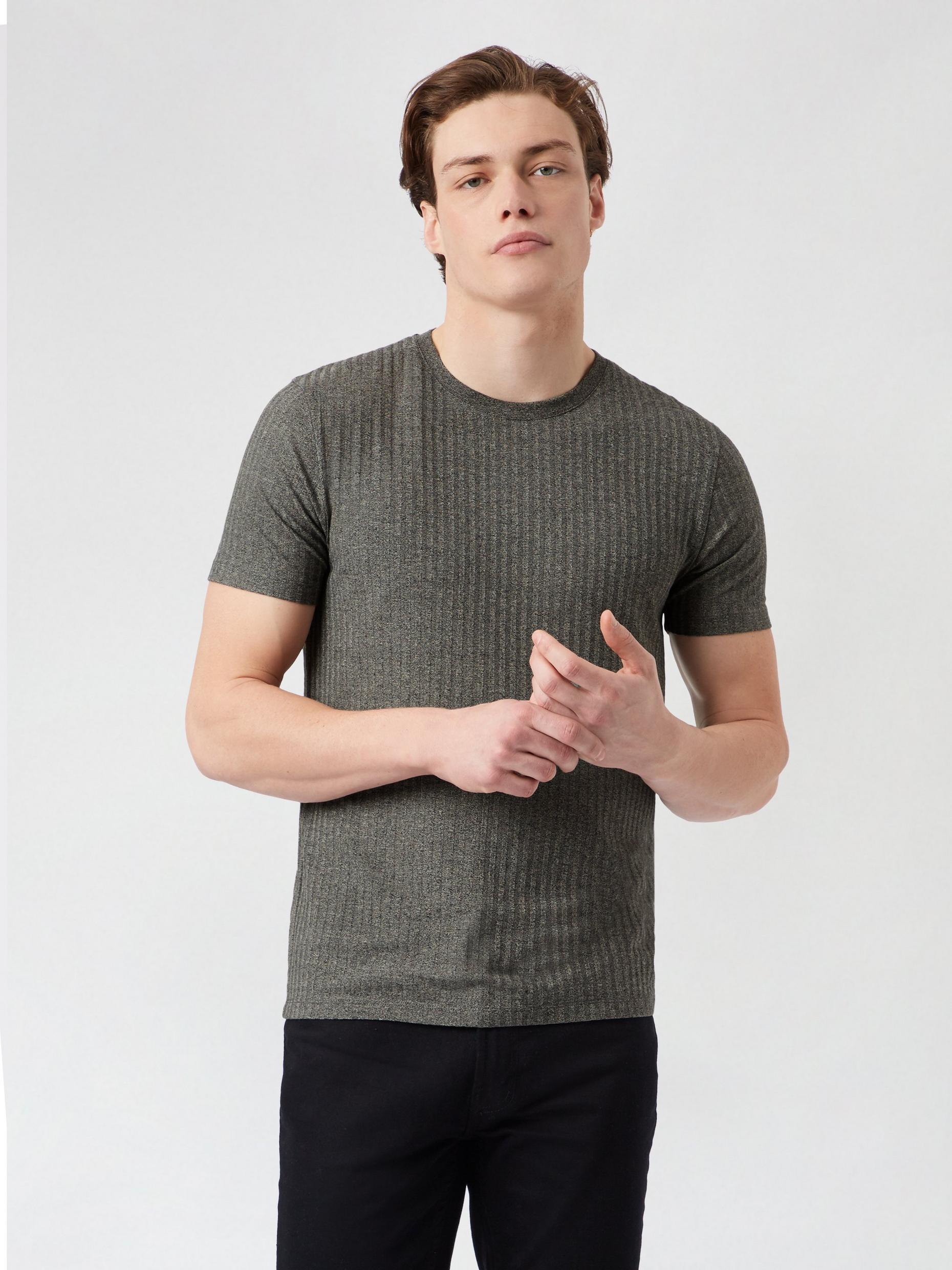 Beige And Grey Textured Rib T shirt