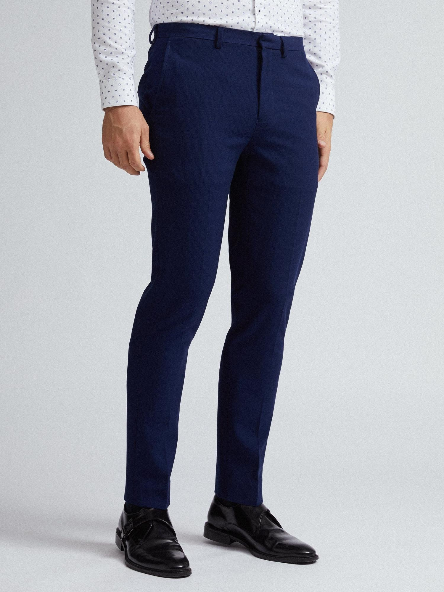 148 Blue Texture Skinny Fit Suit Trousers image number 2