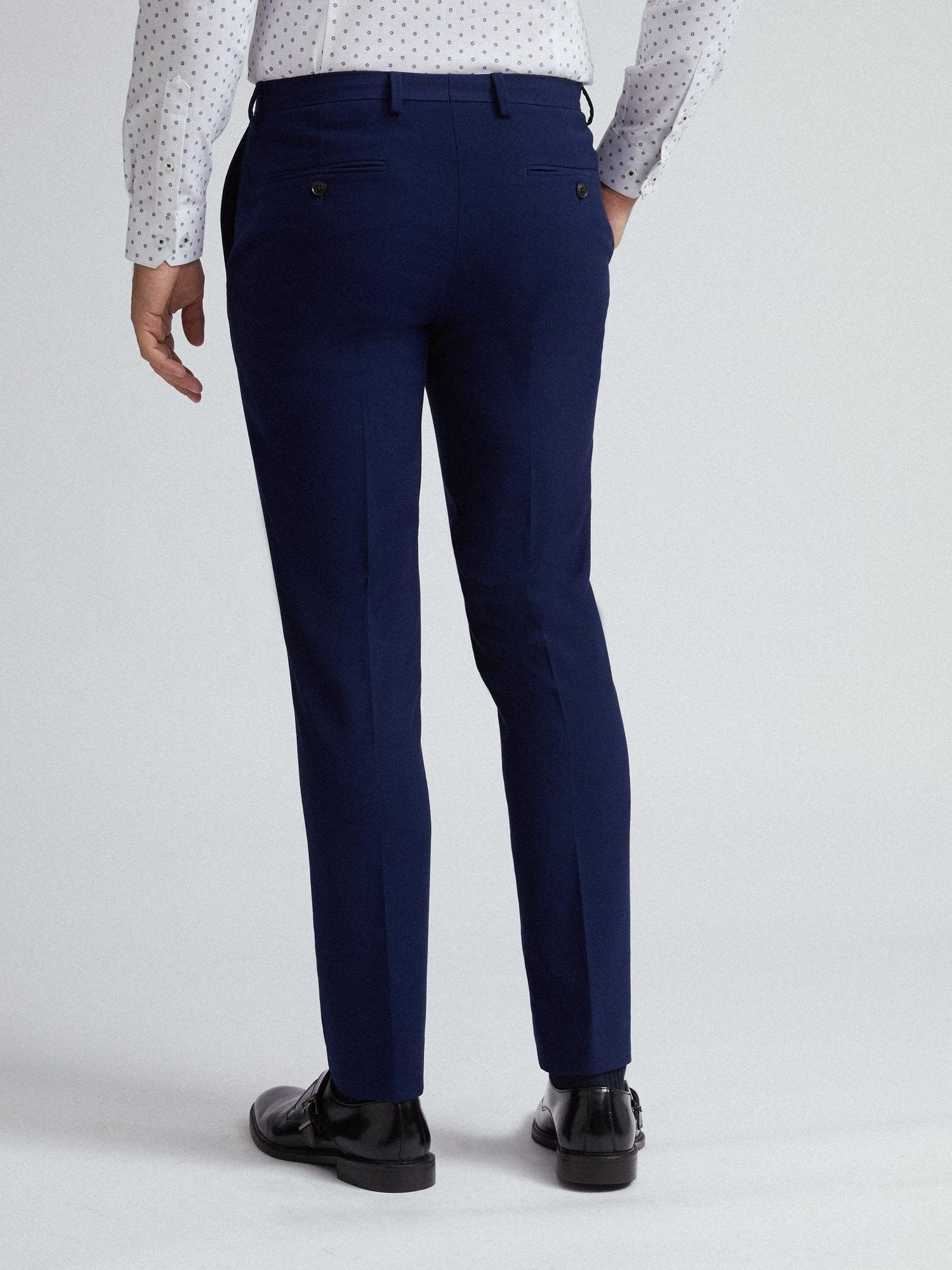 148 Blue Texture Skinny Fit Suit Trousers image number 3
