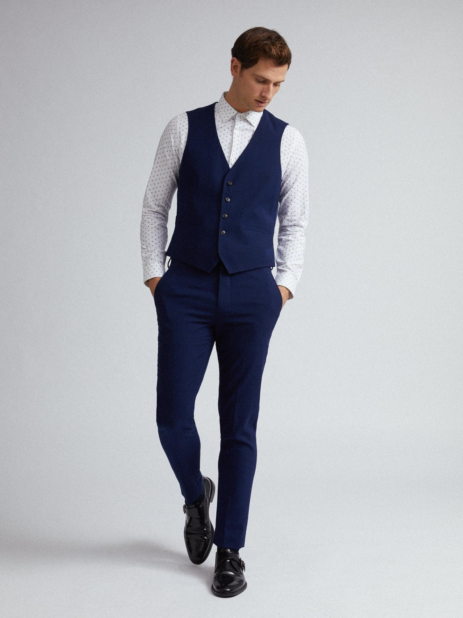 148 Blue Texture Skinny Fit Suit Trousers image number 4