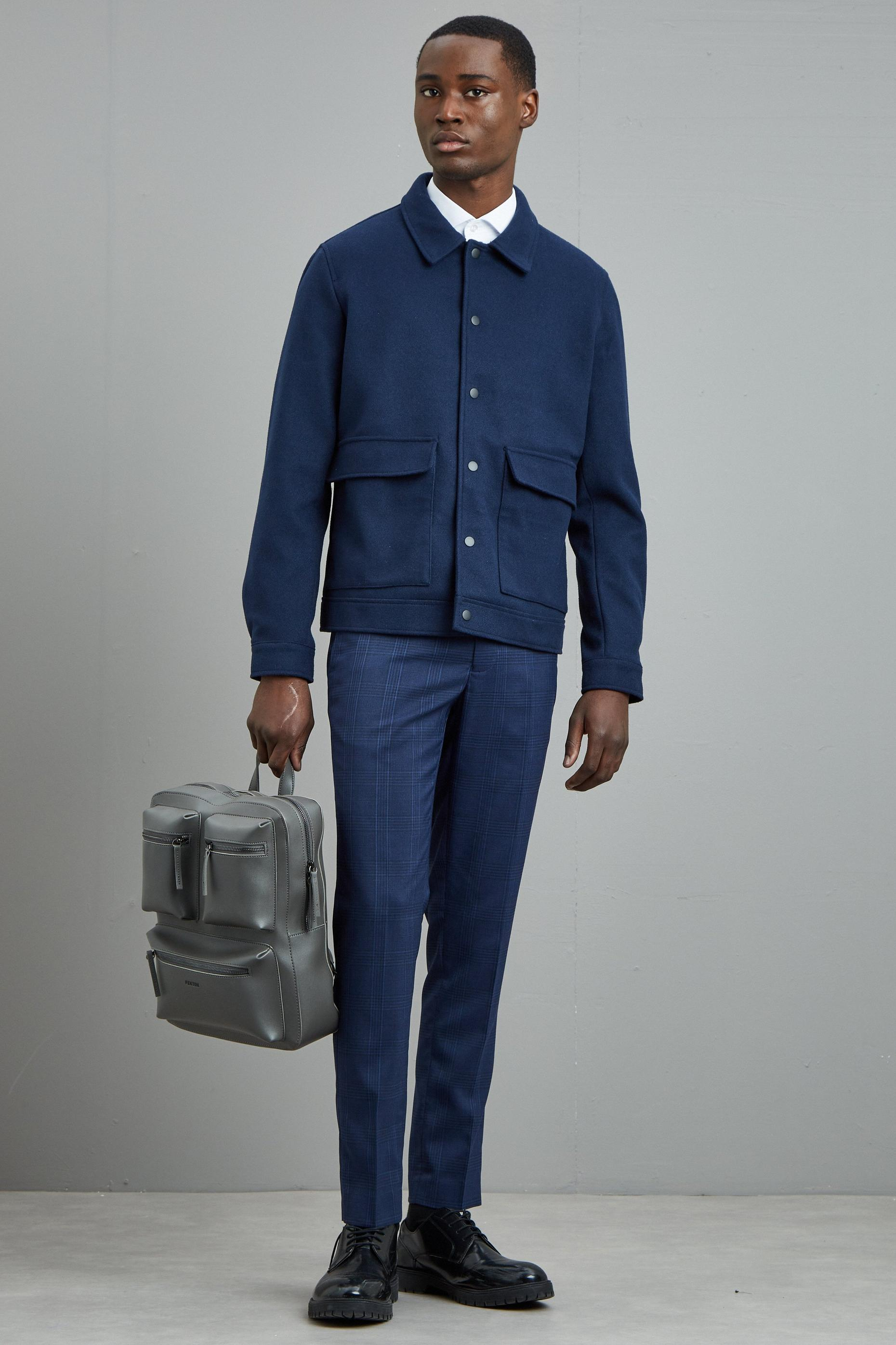 Navy Highlight Check Skinny Fit Suit Trousers