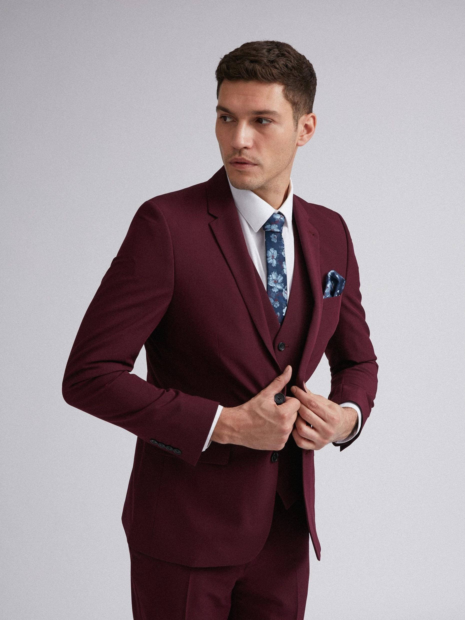 Raspberry Stretch Skinny Fit Suit Jacket