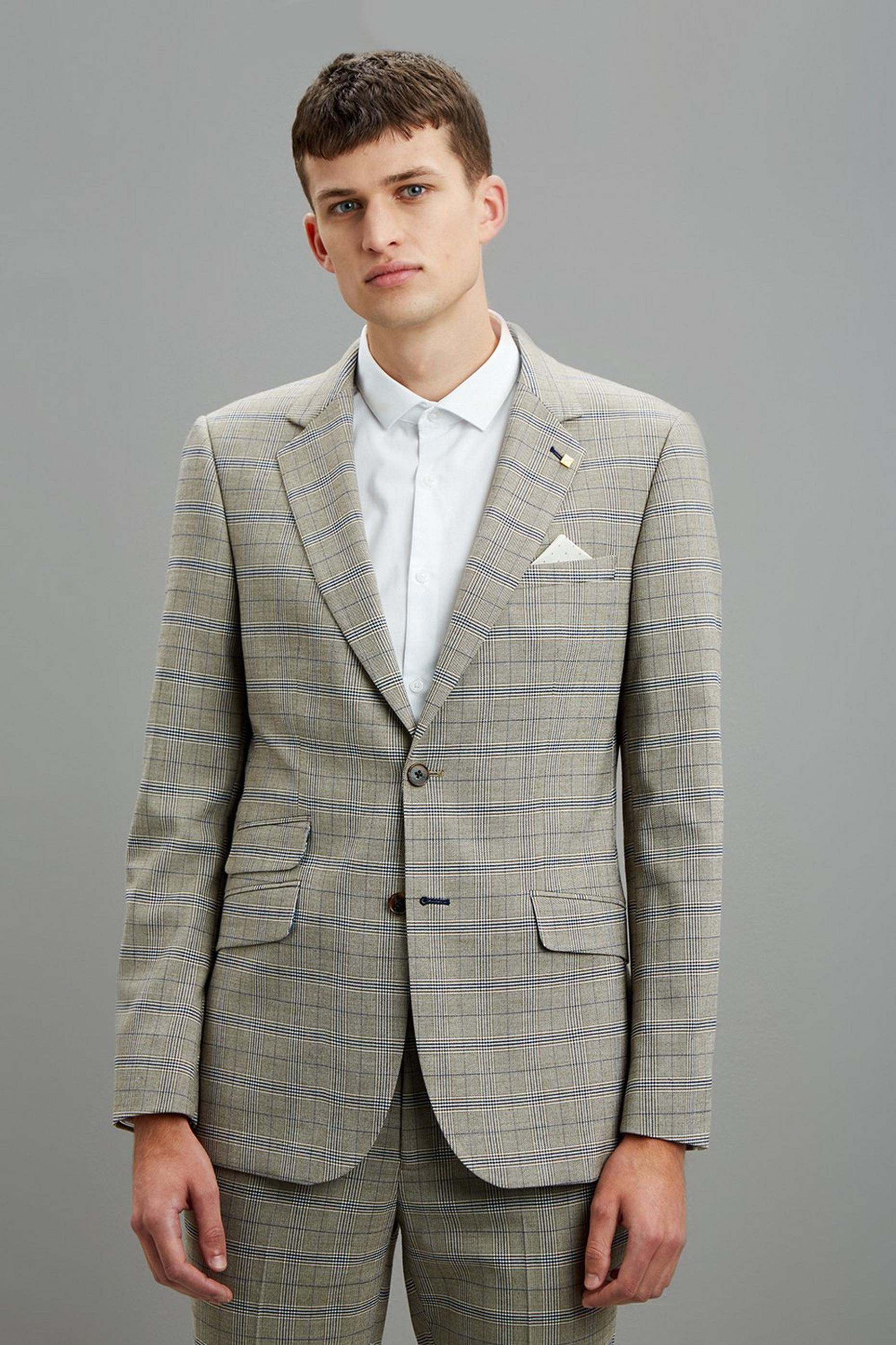 Neutral Navy Check Skinny Fit Suit Jacket