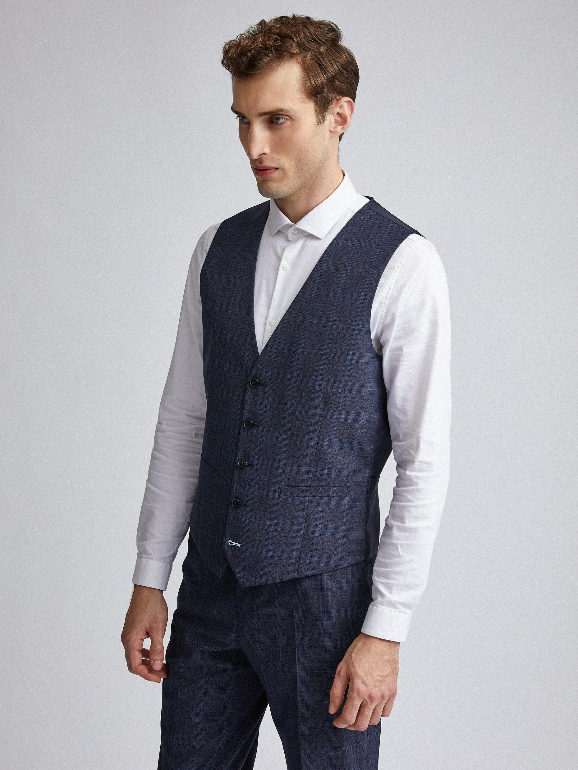 Navy Tonal Check Tailored Fit Suit Waistcoat