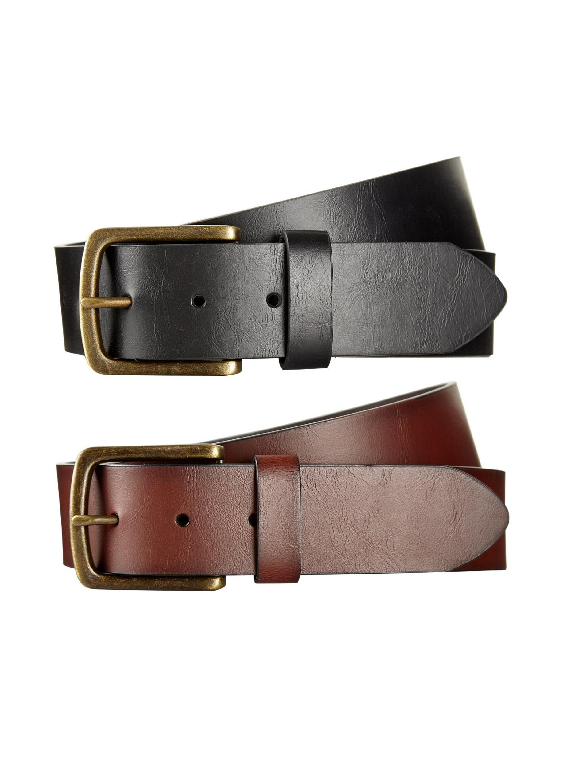 2 Pack Black And Brown Jeans Belts