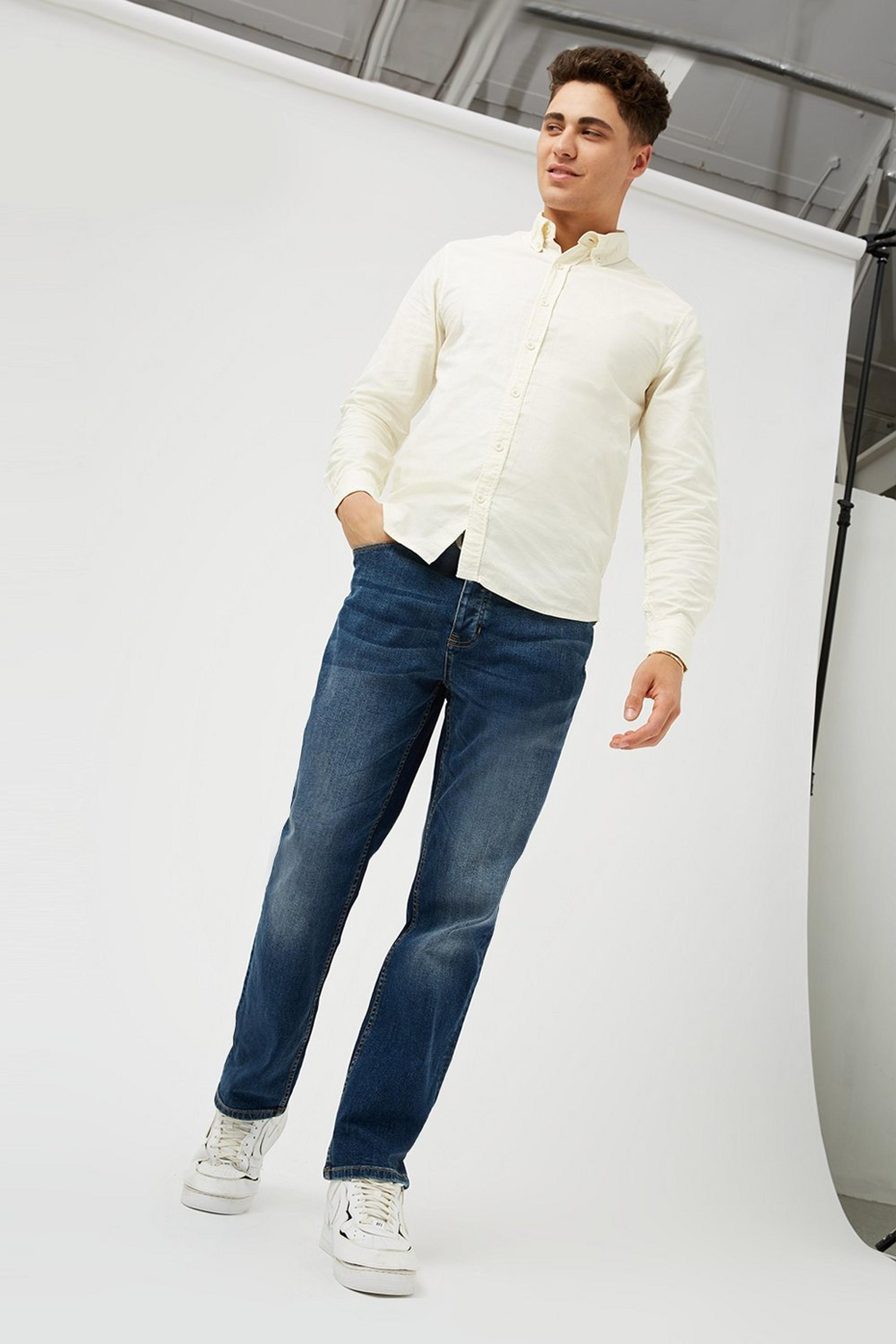 Mid Blue Straight Jeans With Organic Cotton