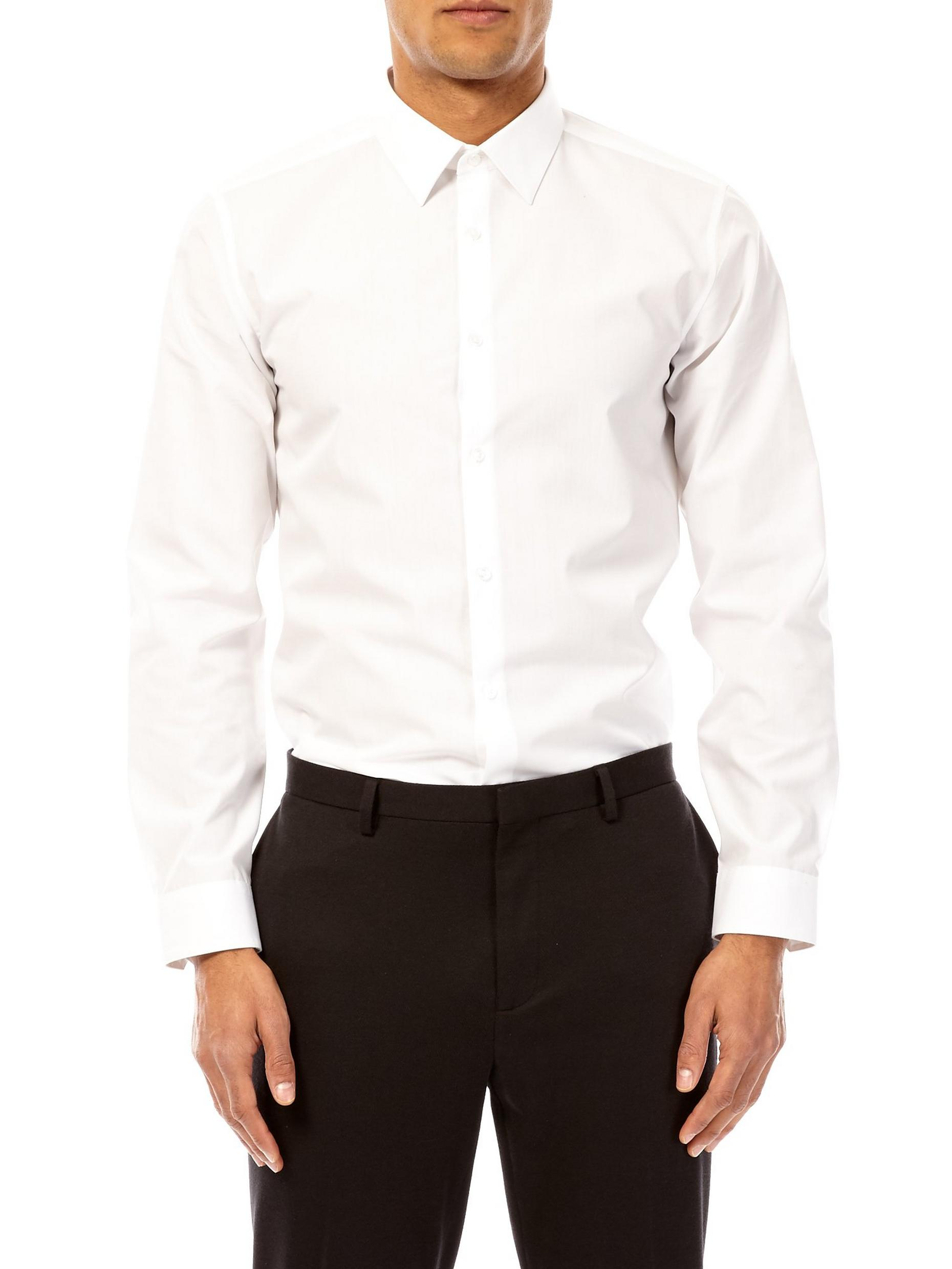White Slim Fit Easy Iron Shirt