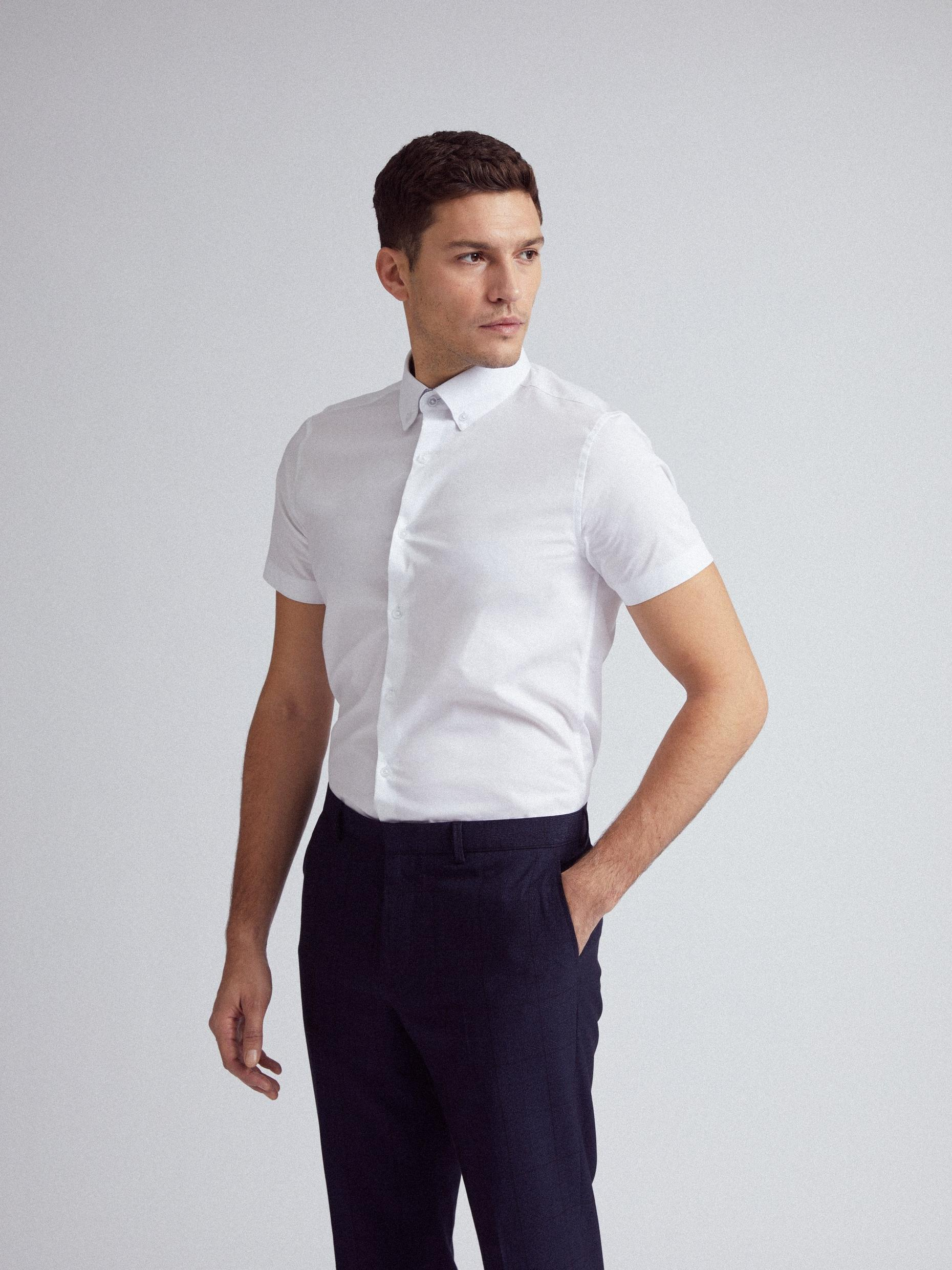 White Stretch Short Sleeve Skinny Fit Shirt