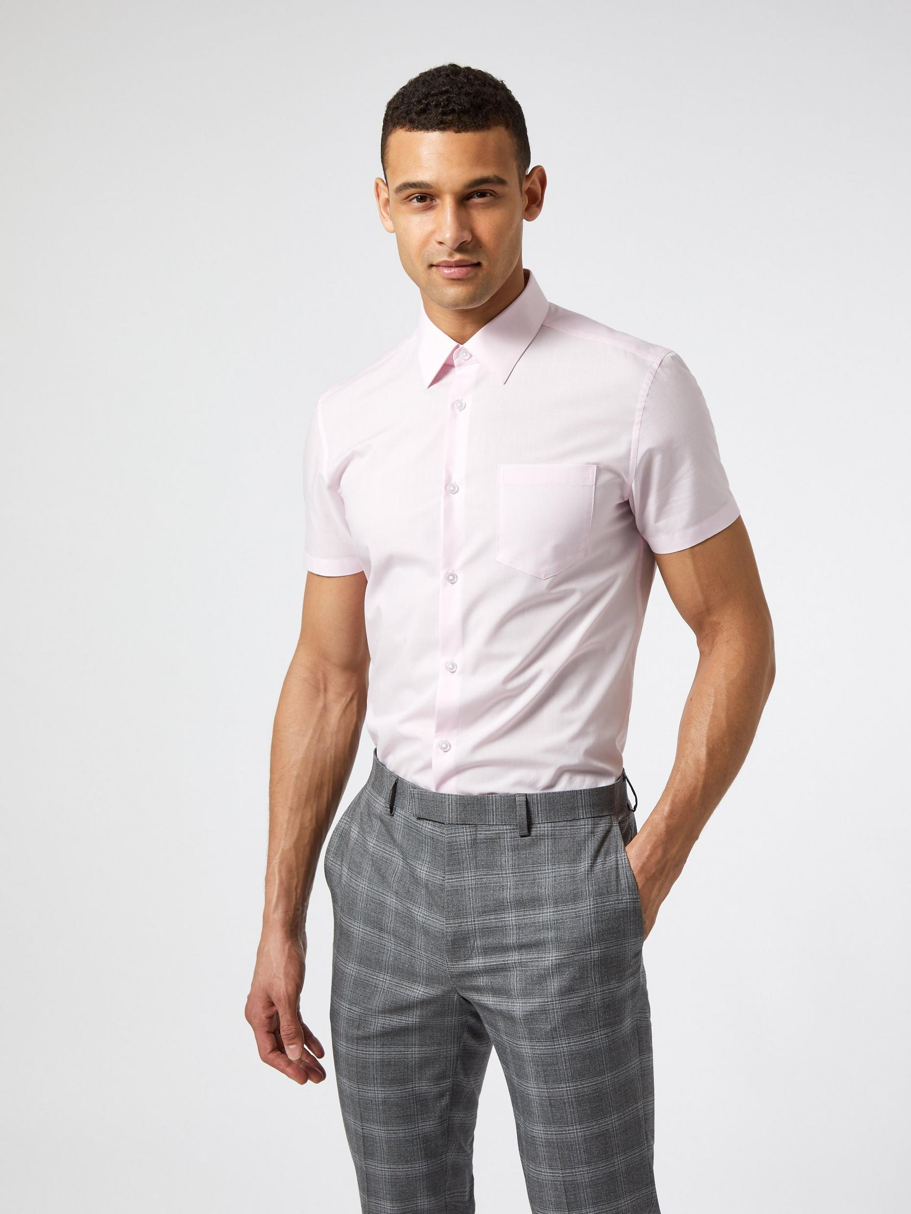 Pink Slim Fit Short Sleeve Easy Iron Shirt