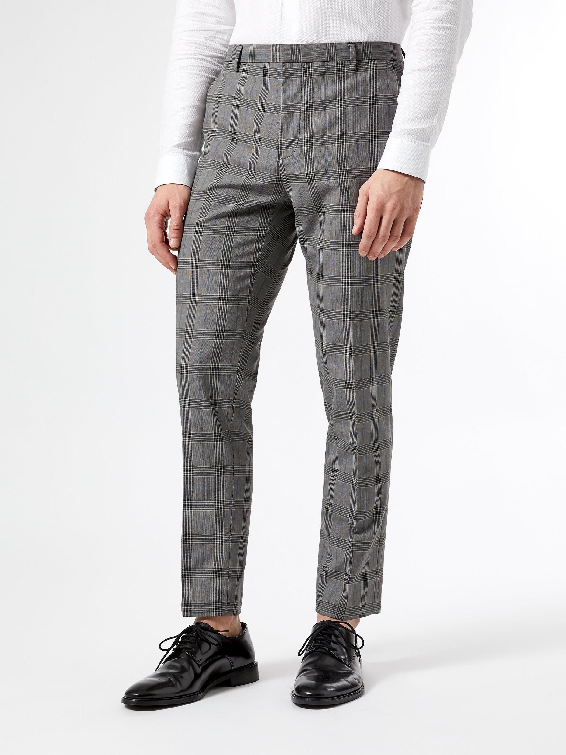 Mid Grey Skinny Fit Check Trousers