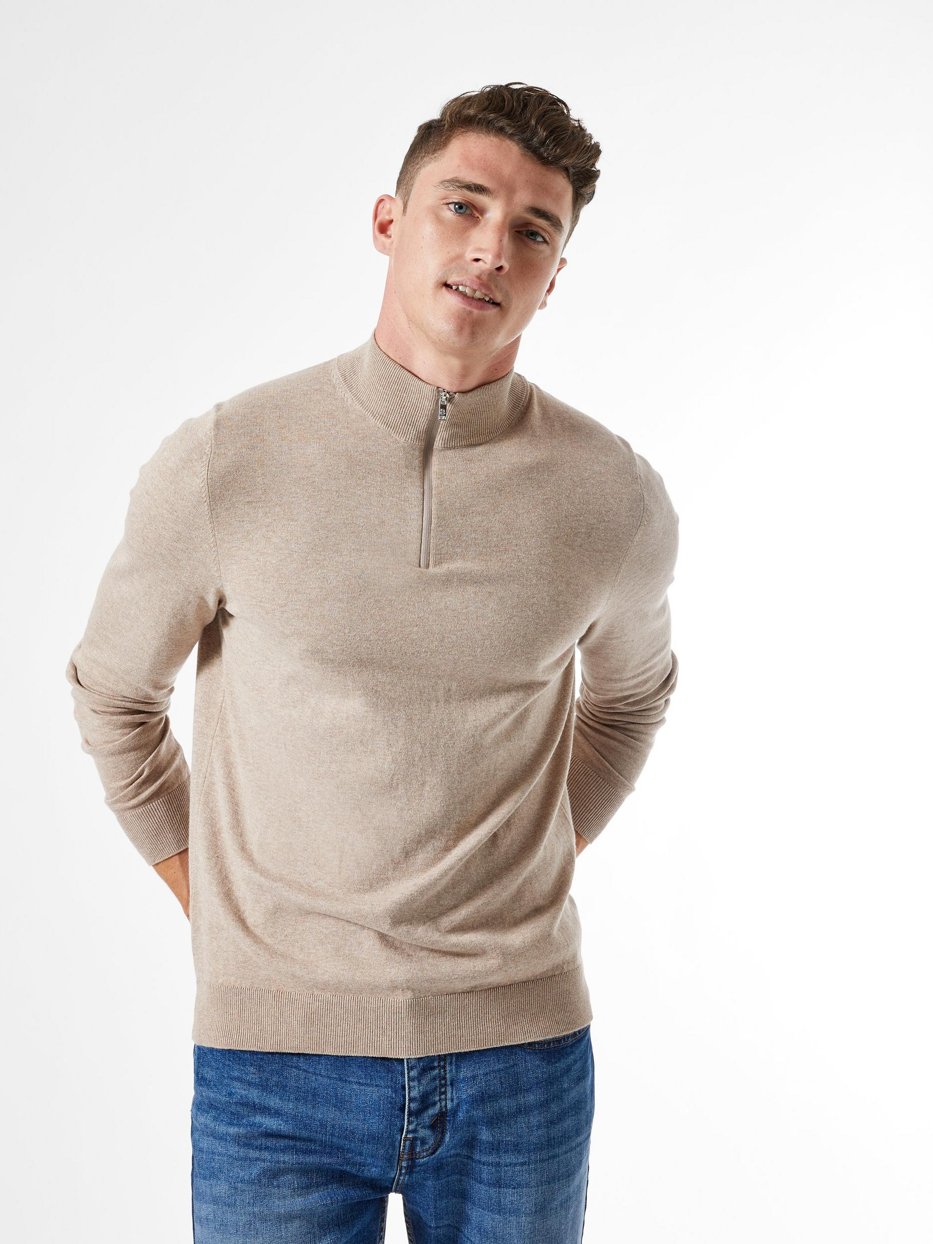 Neutral Half Zip Jumper with Organic Cotton